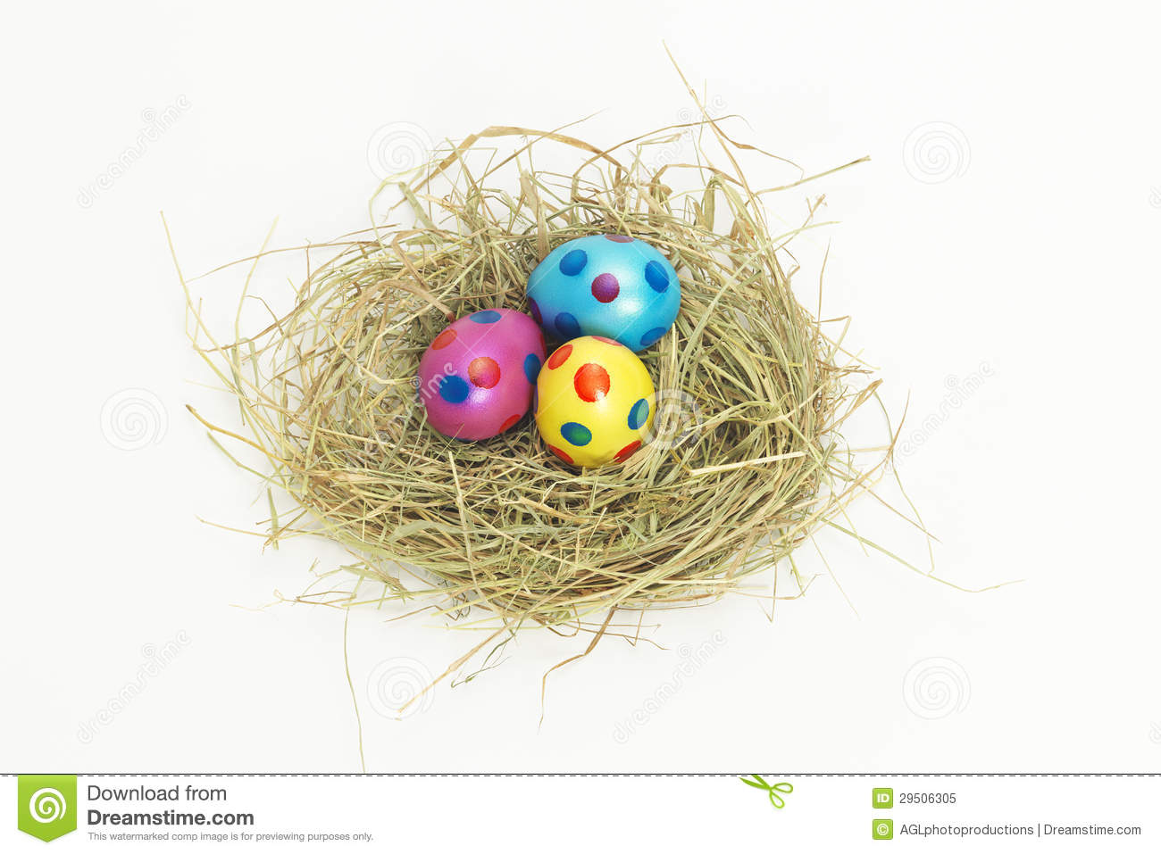 Nest Full Of Colorful Easter Eggs From Above Stock Image Image Of