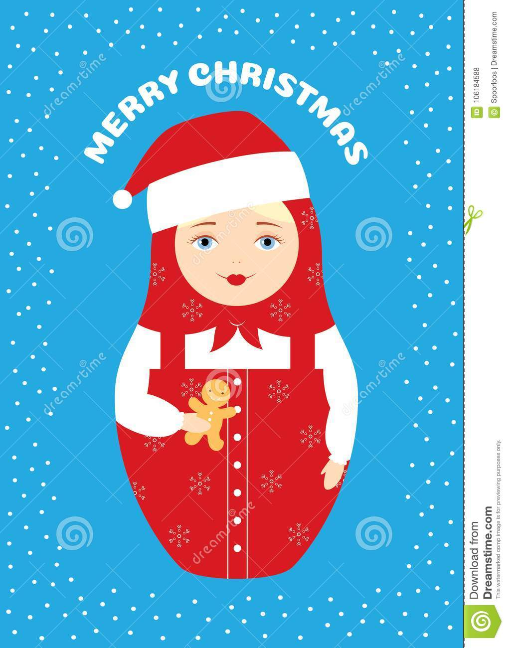 Merry Christmas In Russian.Nesting Doll Merry Christmas Stock Vector Illustration Of