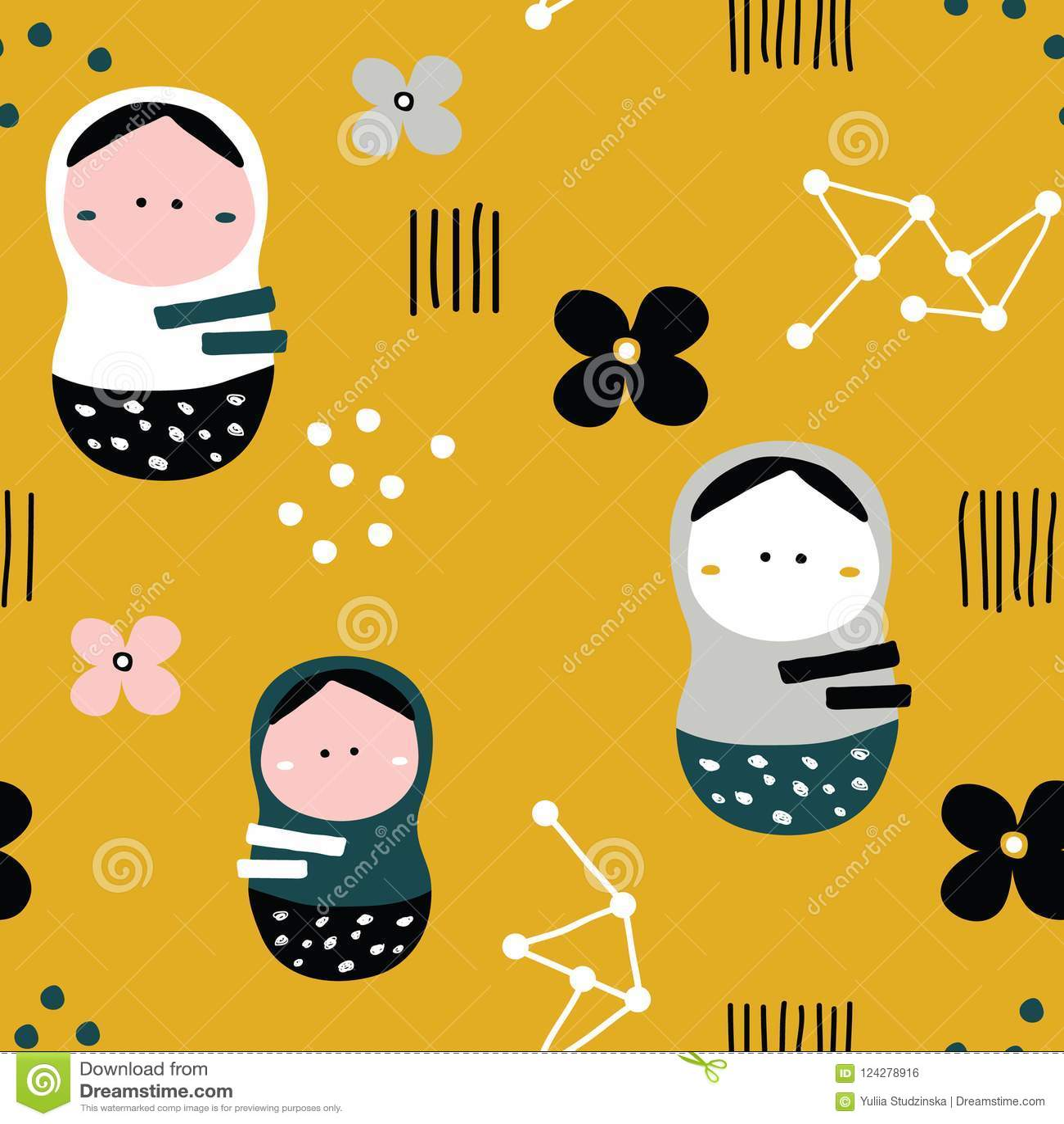 Nesting Dolls Pattern Stock Vector Illustration Of Folk