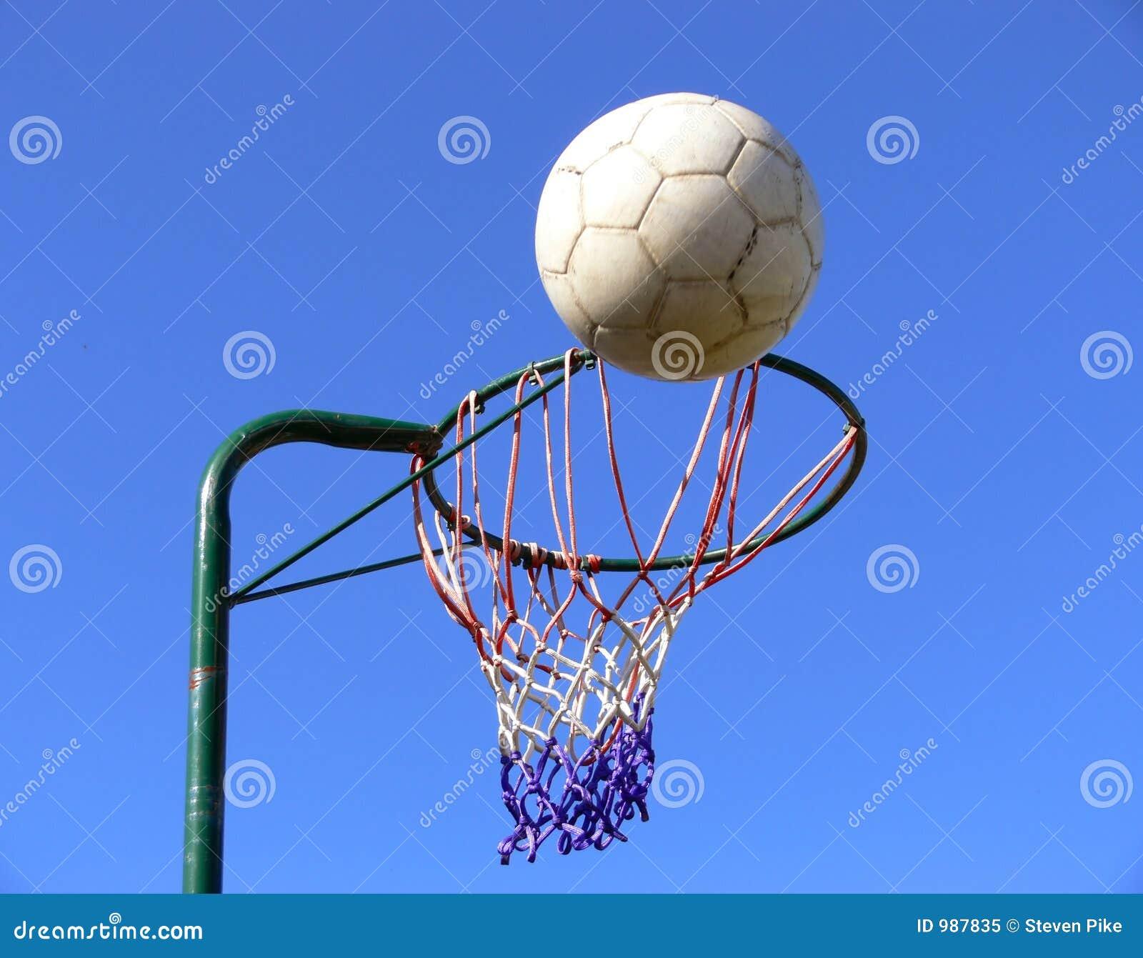 Netball basket and ball stock image. Image of shooting ...