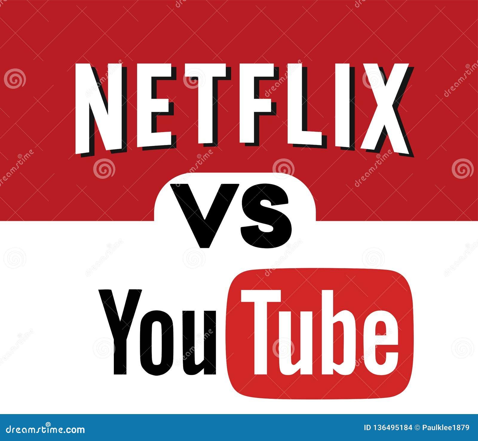 Netflix CONTRA YOUTUBE Logo Editorial Vetora