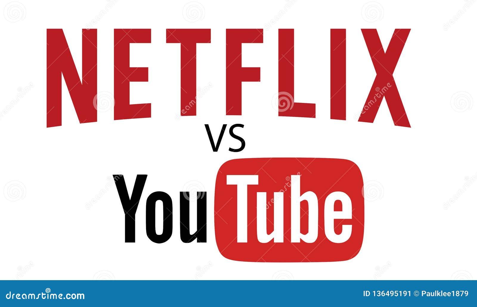 Netflix VS YOUTUBE Logo Editorial Vector Editorial Photo