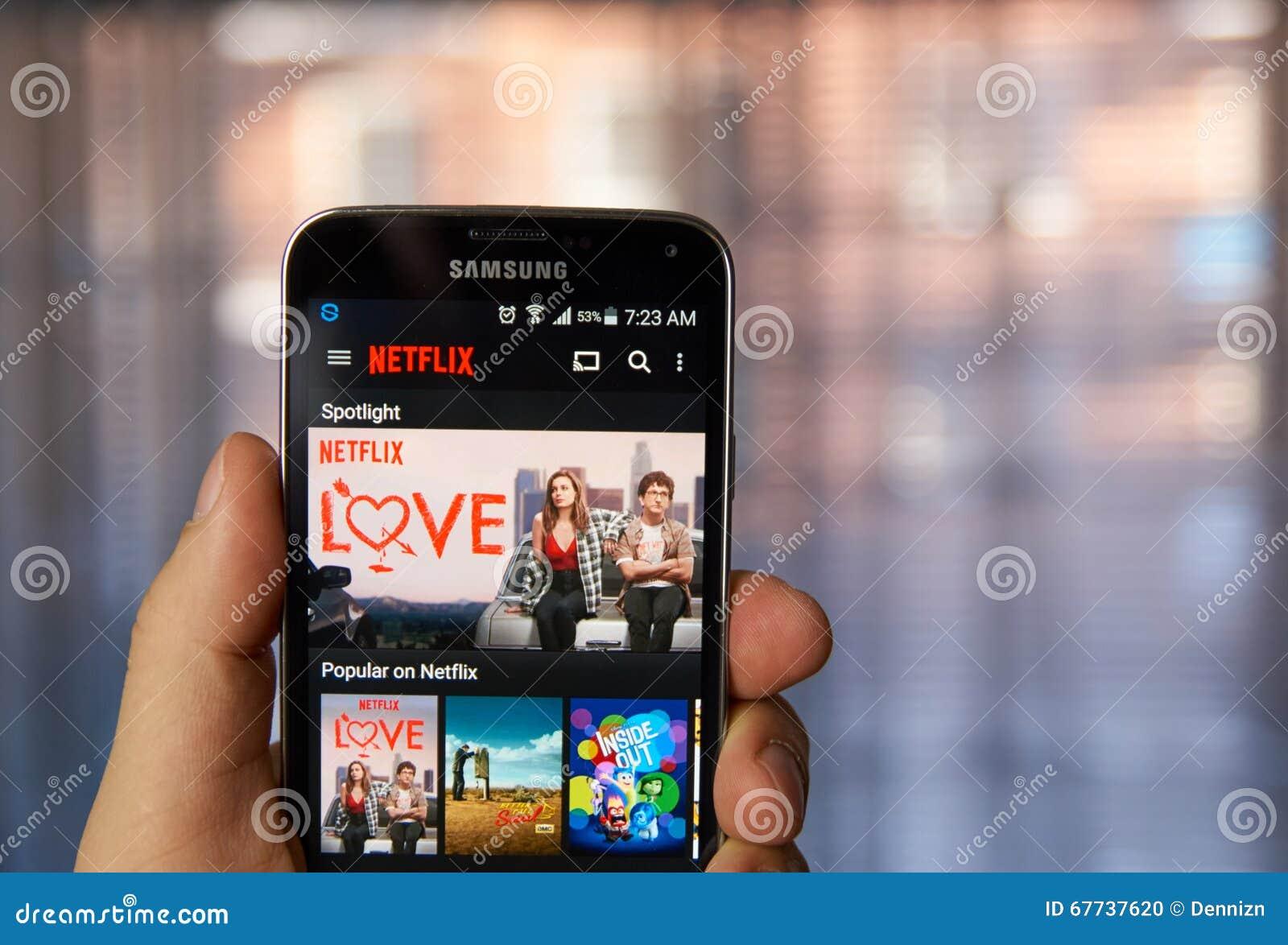 Netflixtoepassing op celtelefoon