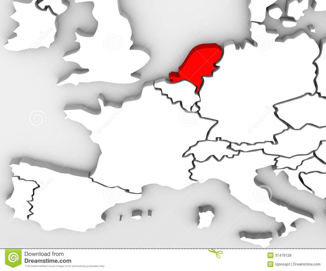 Netherland Country Abstract 3D Map Europe Continent Royalty Free