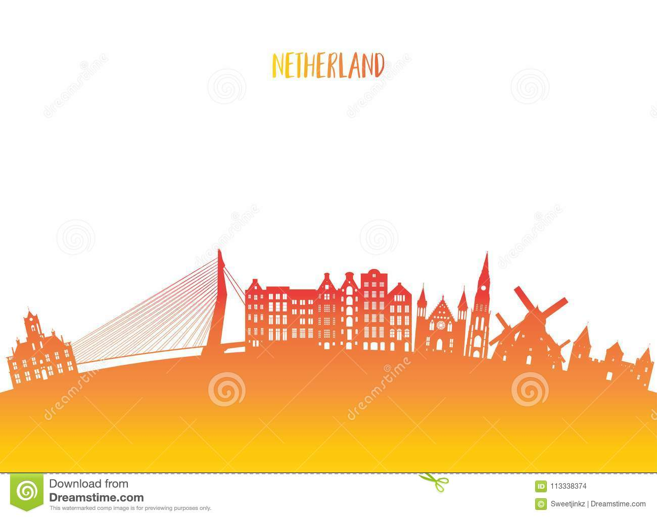 Netherland Landmark Global Travel And Journey Paper Background Vector Design Templateused For Your Advertisement Book Banner Template Business
