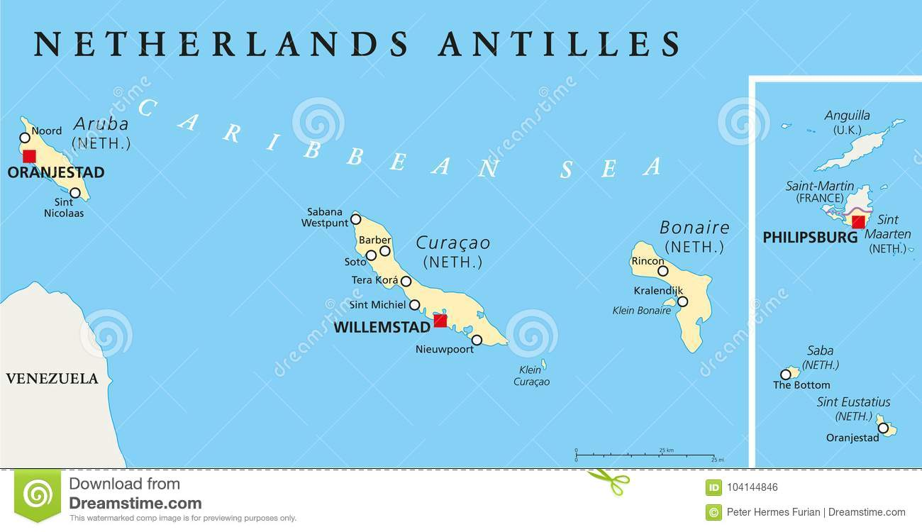 Curacao Location On World Map.Netherlands Antilles Political Map Stock Vector Illustration Of
