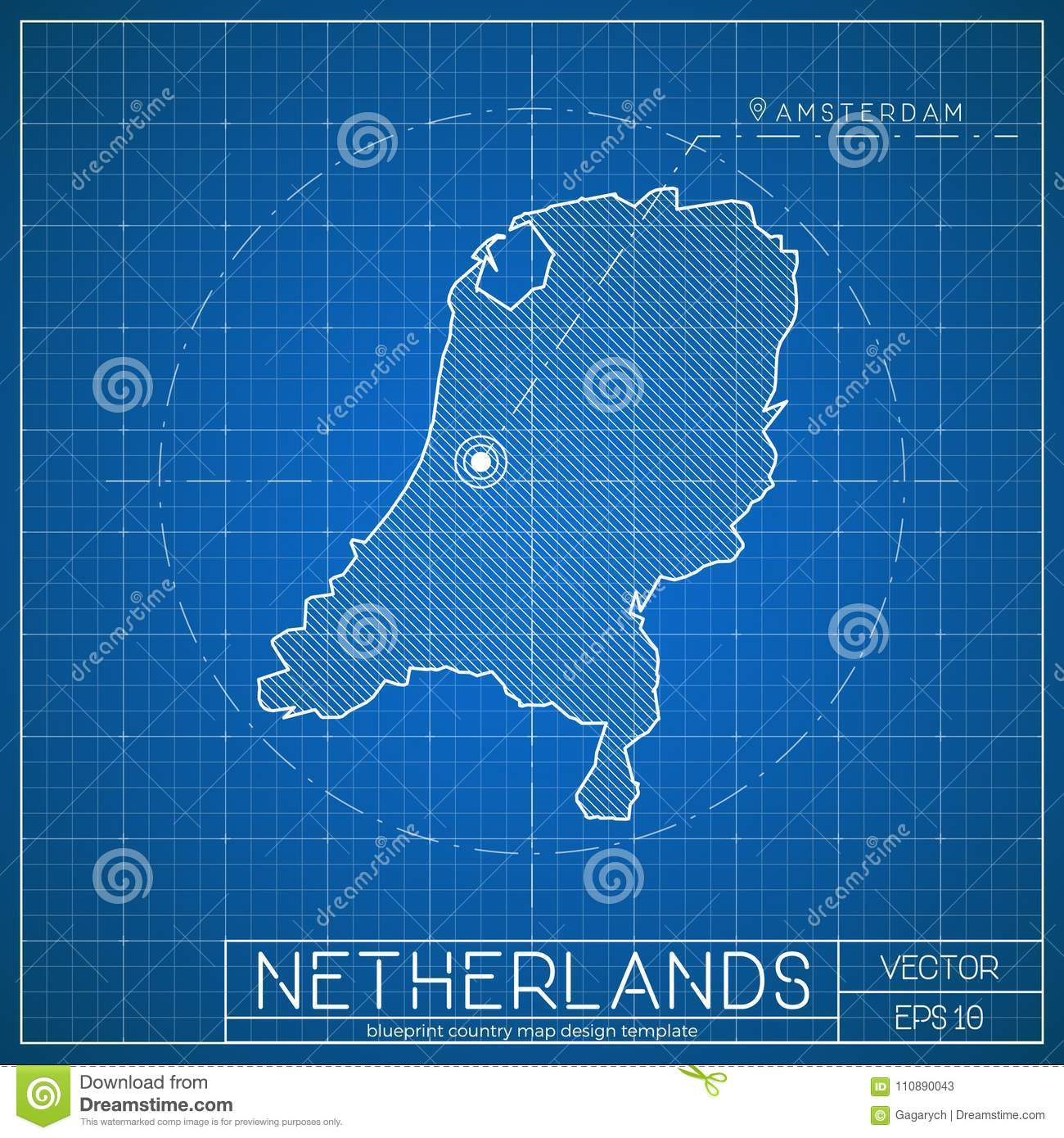 Netherlands blueprint map template with capital stock vector netherlands blueprint map template with capital malvernweather Gallery
