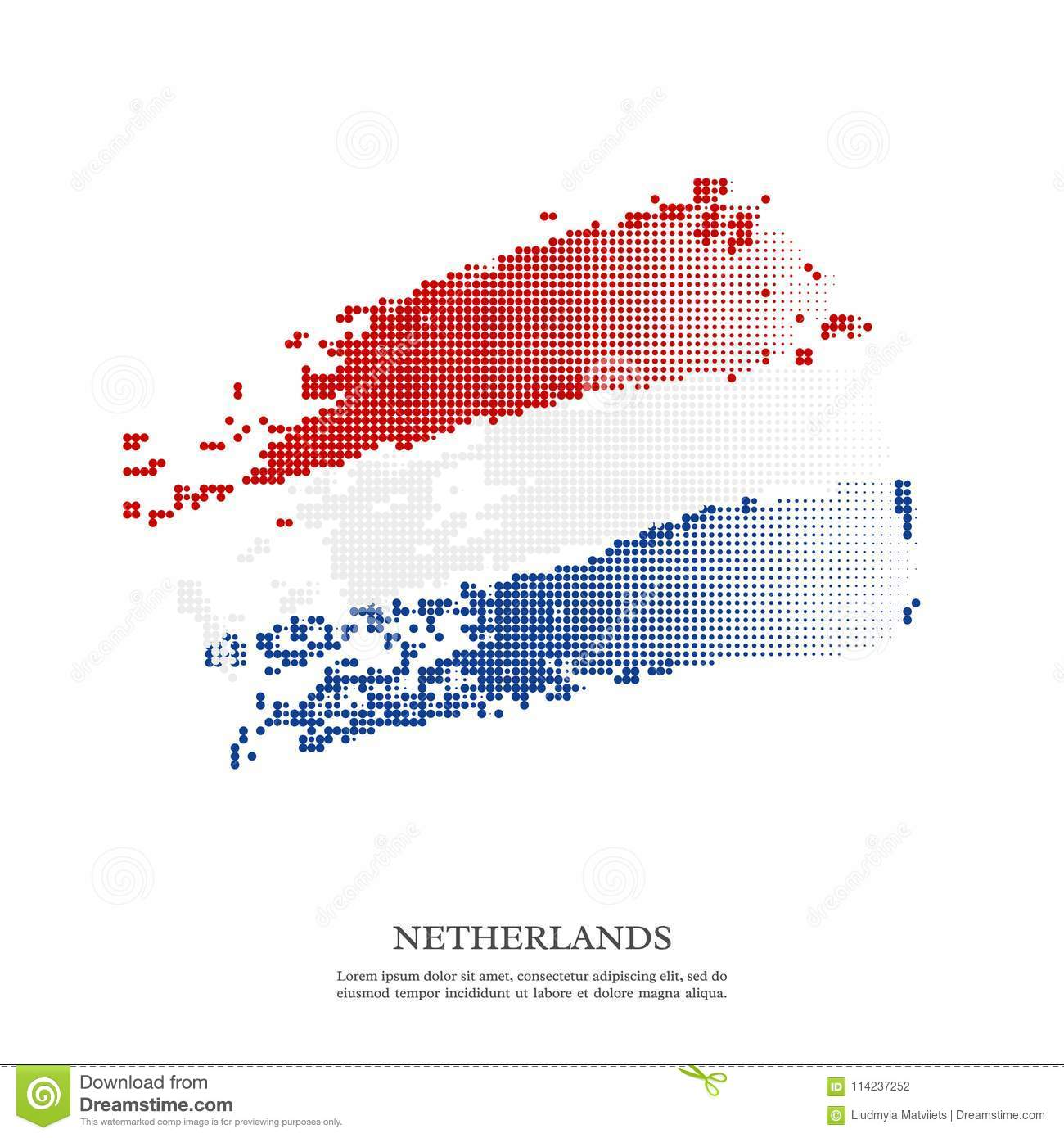Netherlands flag with halftone effect, grunge texture.