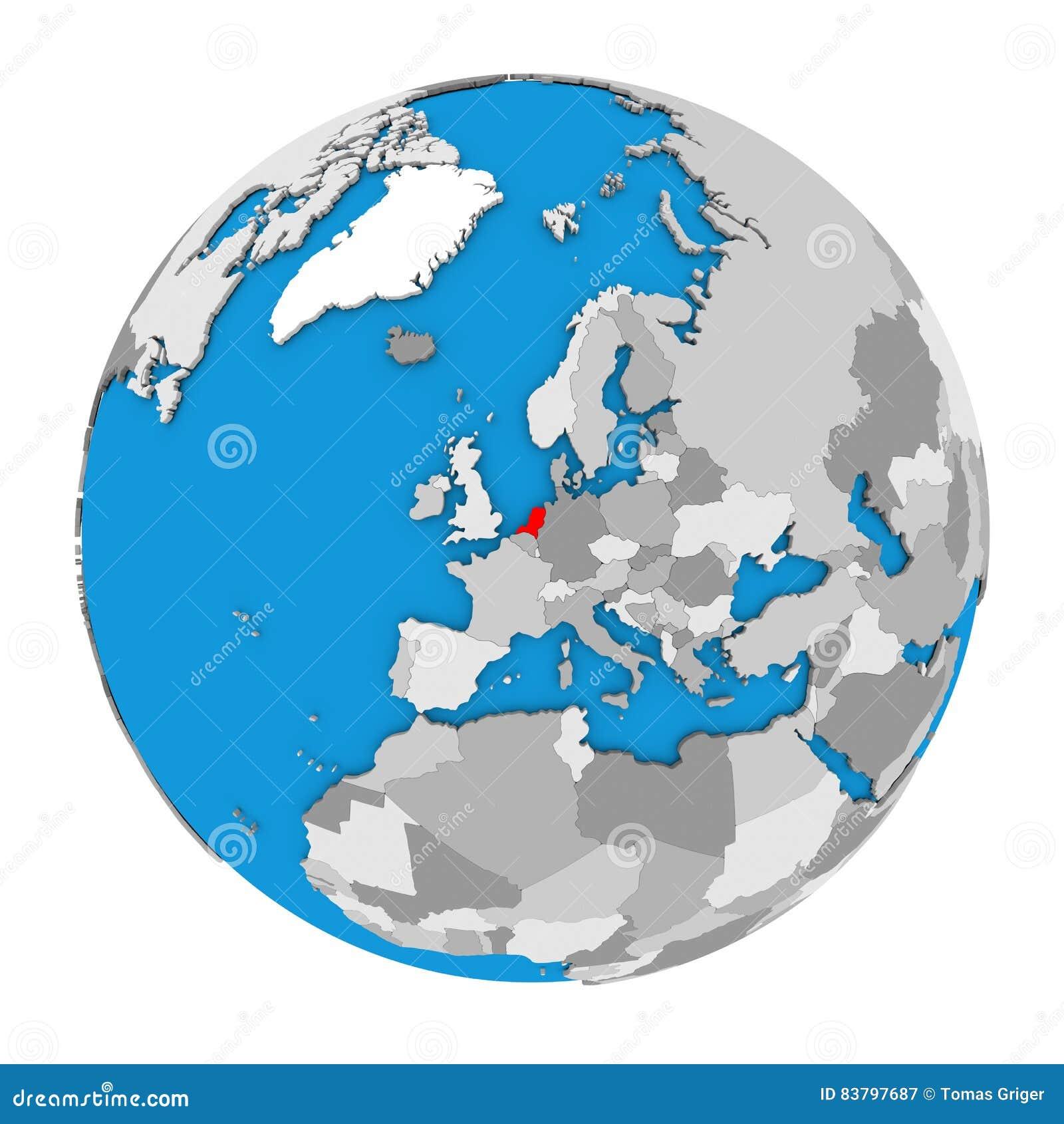 Netherlands on globe stock illustration. Illustration of political ...