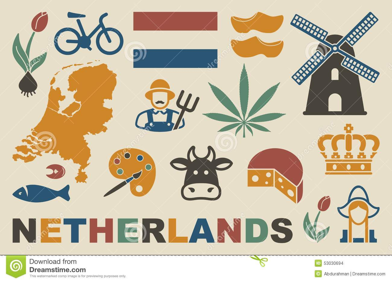Netherlands Icons Stock Vector Image 53030694
