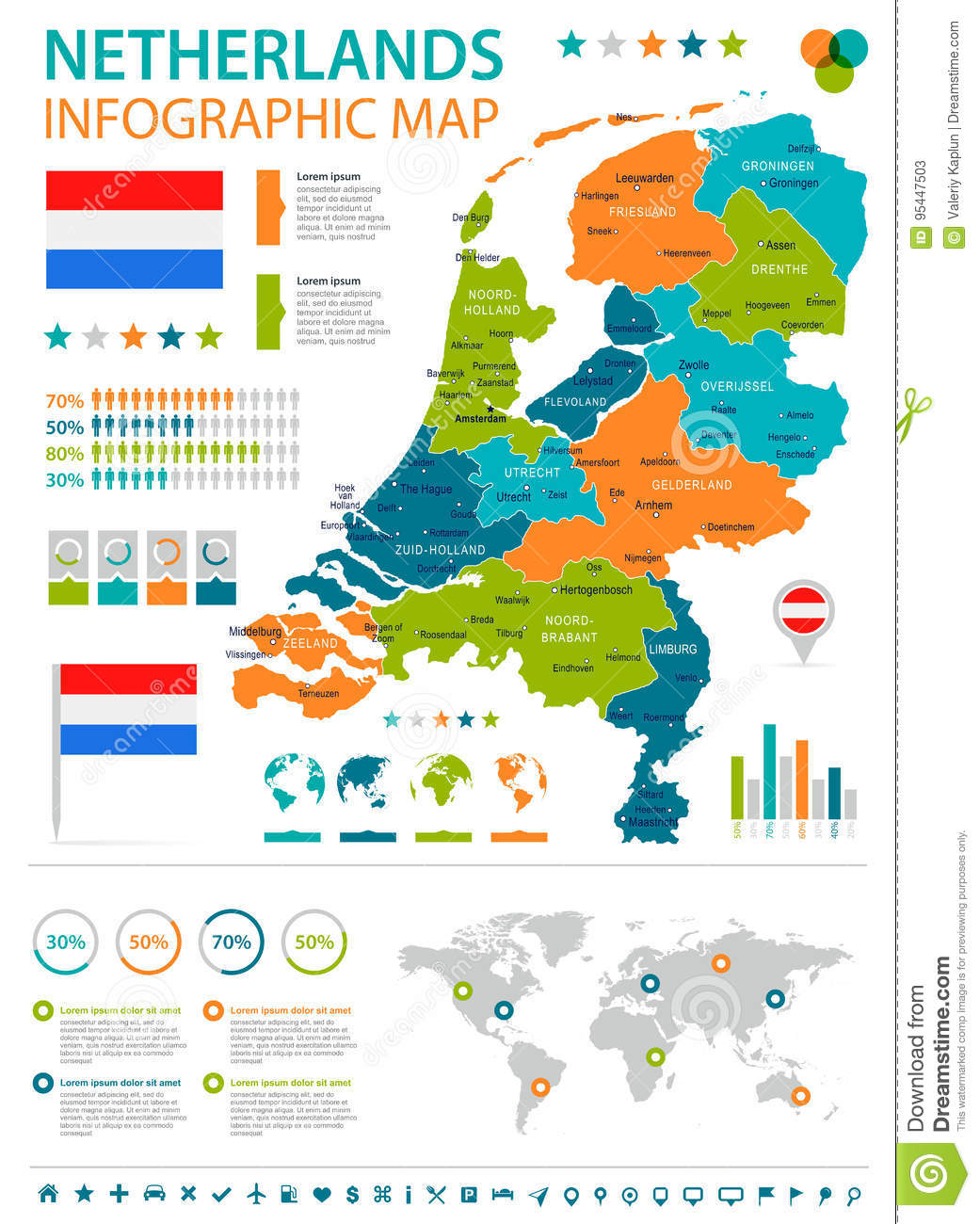 Netherlands - Infographic Map And Flag - Illustration Stock ...
