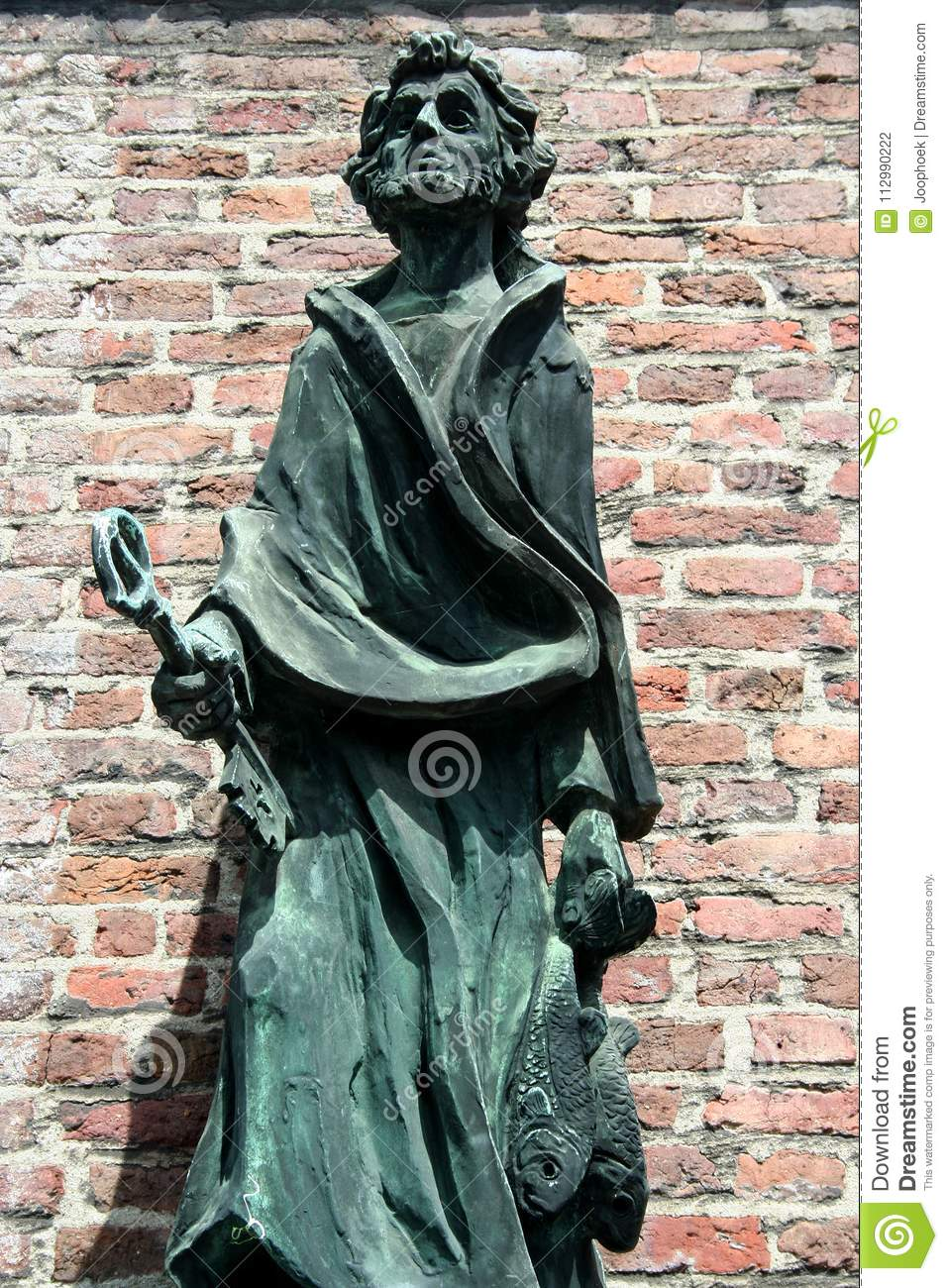 Statue of st Peter in front of the St Petrus in Sittard