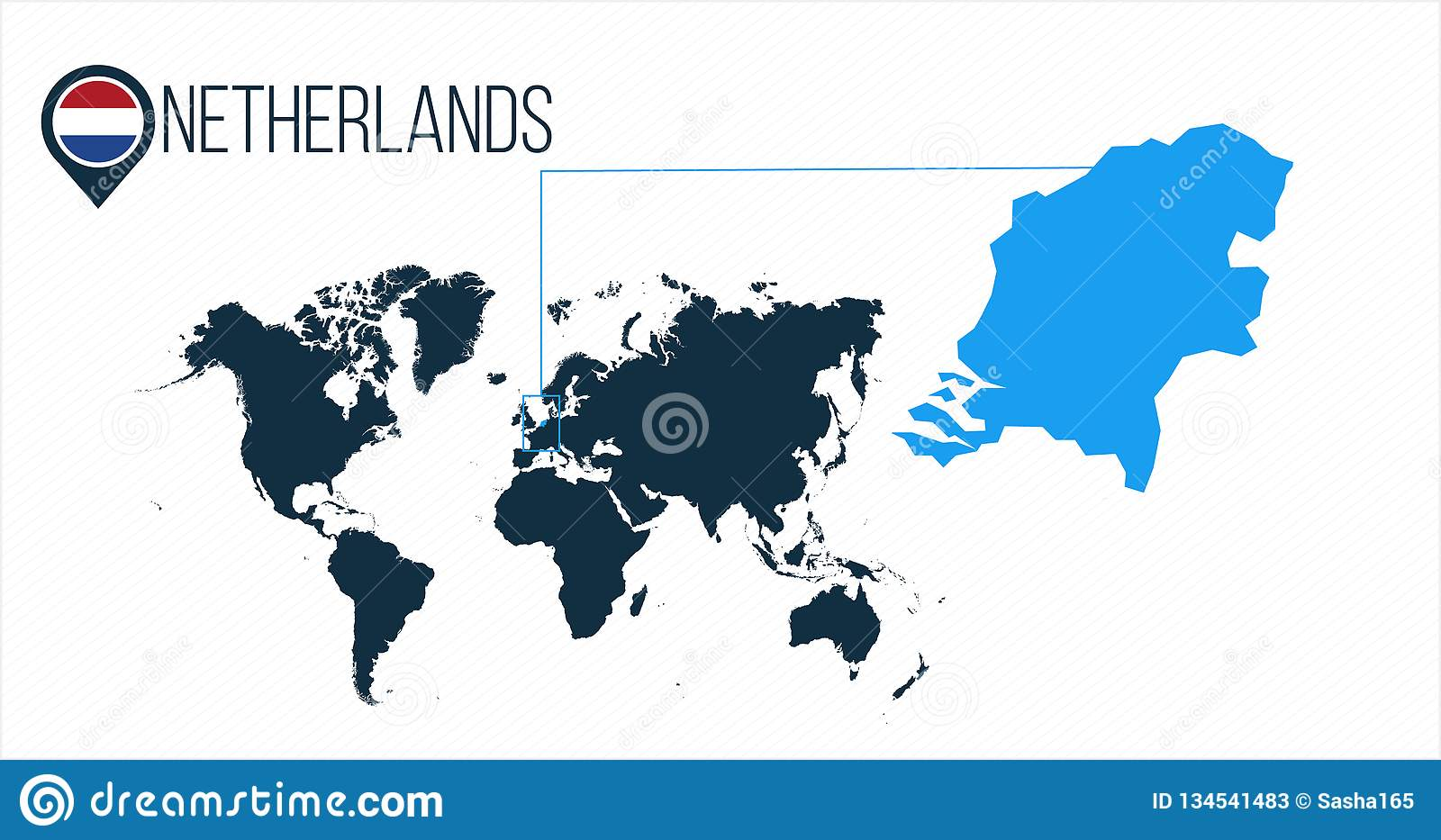 Netherlands Location On The World Map For Infographics. All ...