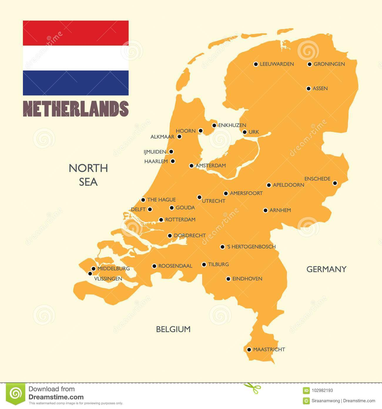 Picture of: Netherlands Map With Flag And English Label Stock Vector Illustration Of European Amsterdam 102982193