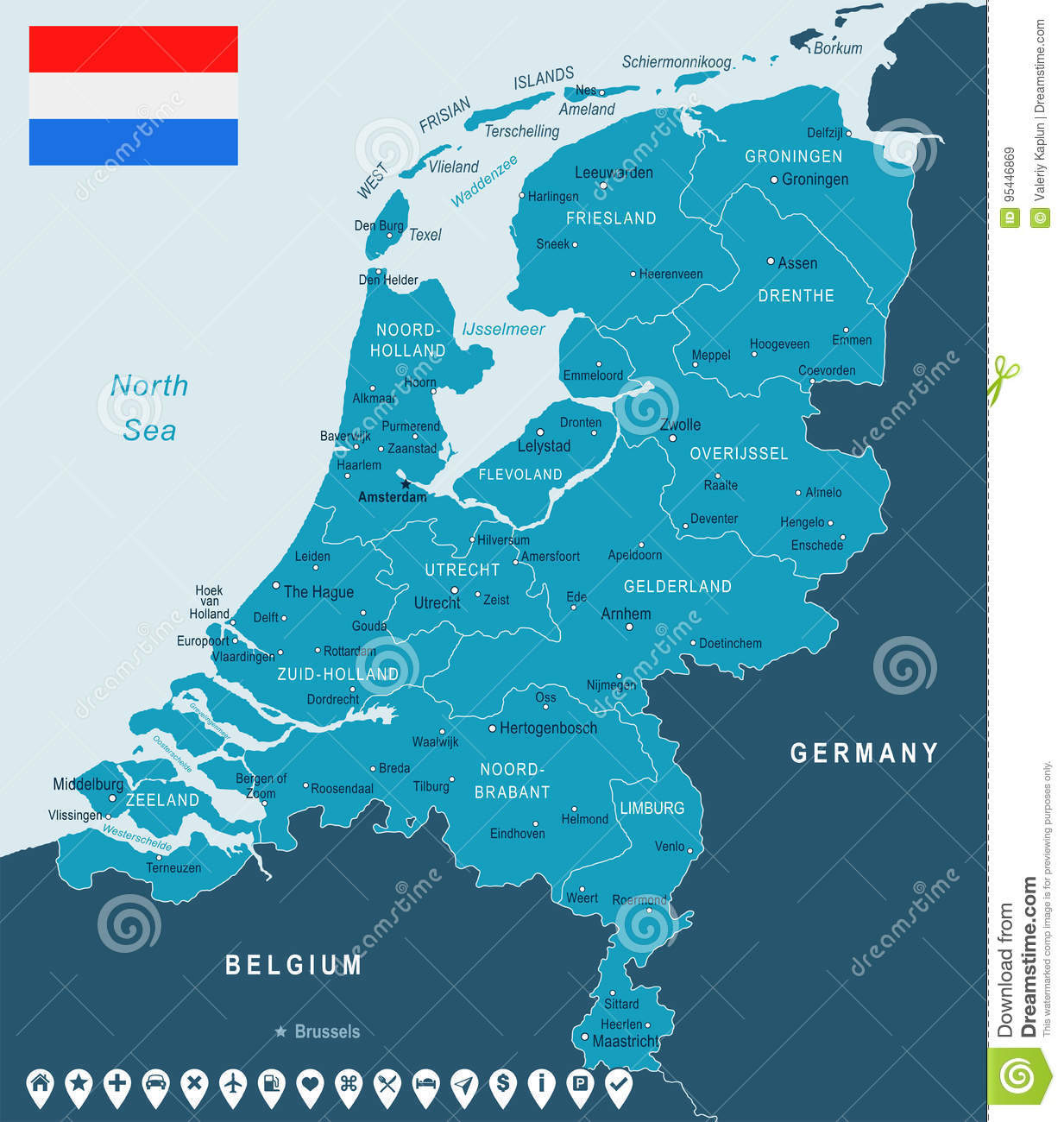 Netherlands Map And Flag Illustration Stock Illustration