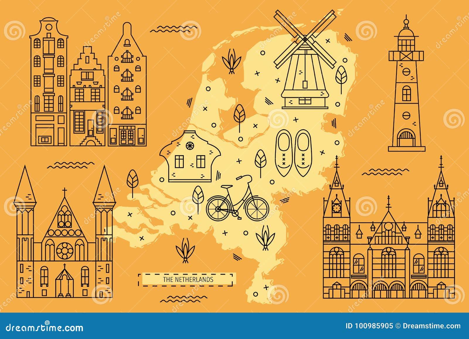 The Netherlands Map In Flat Line Design Stock Vector Illustration