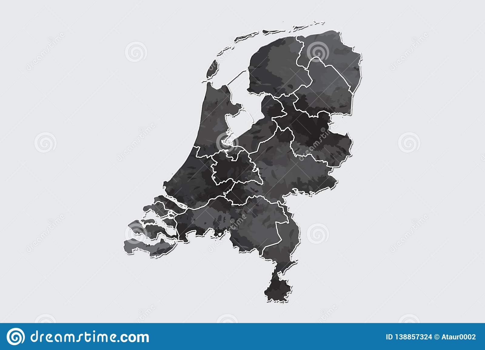 Netherlands watercolor map vector illustration of black color with border lines of different regions or provinces on light