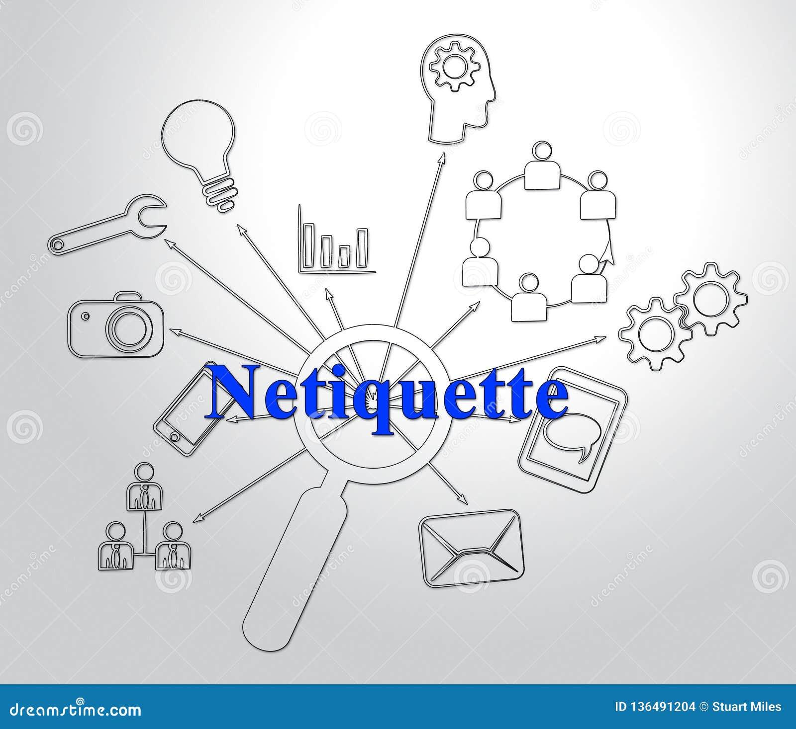 Netiquette Polite Online Behavoir Or Web Etiquette - 2d Illustration