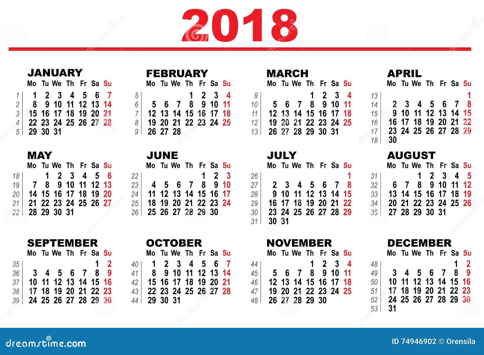 Calendarios 2018 Hd