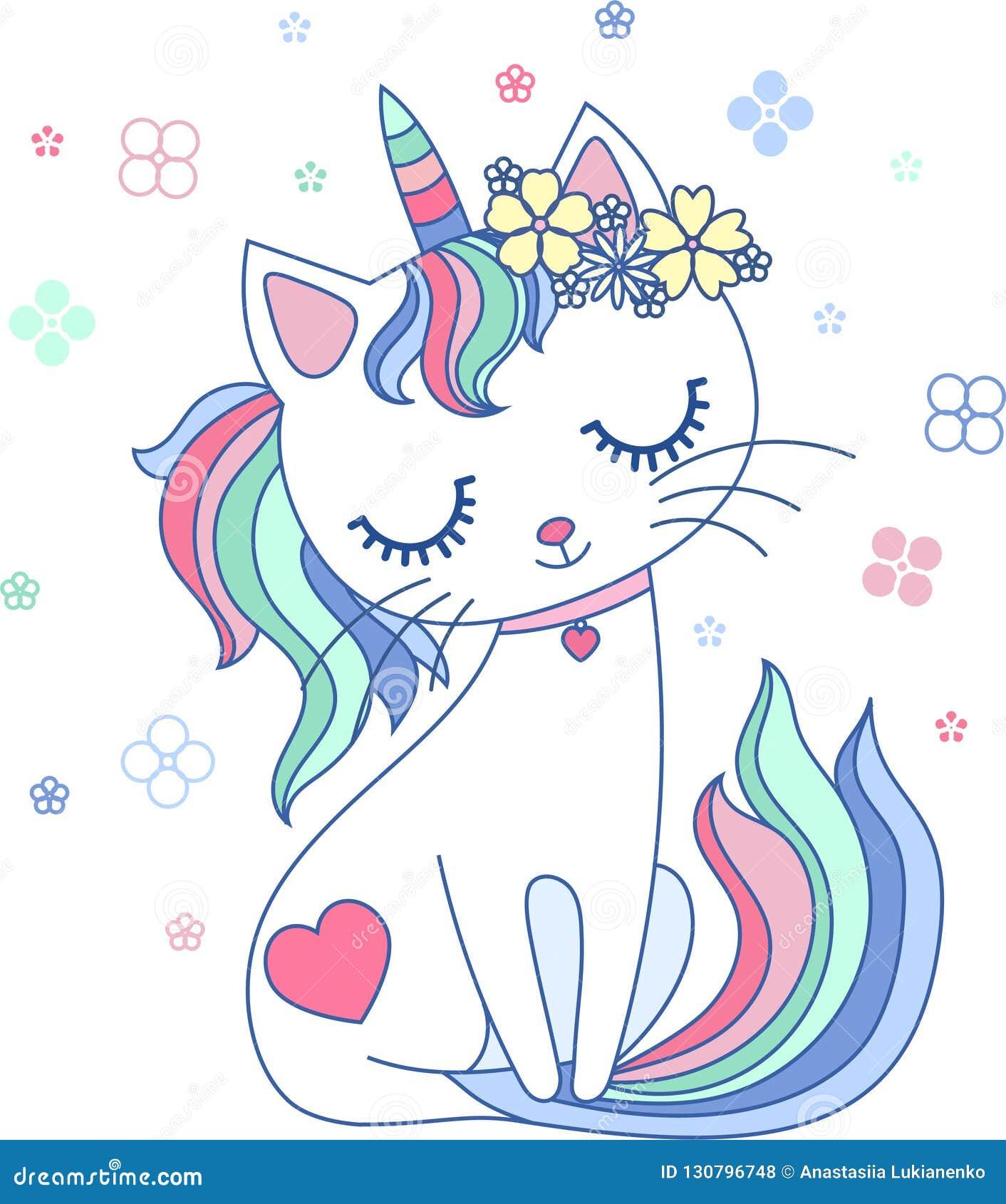 Nett, Karikatur, Regenbogenkatzeneinhorn Vektor