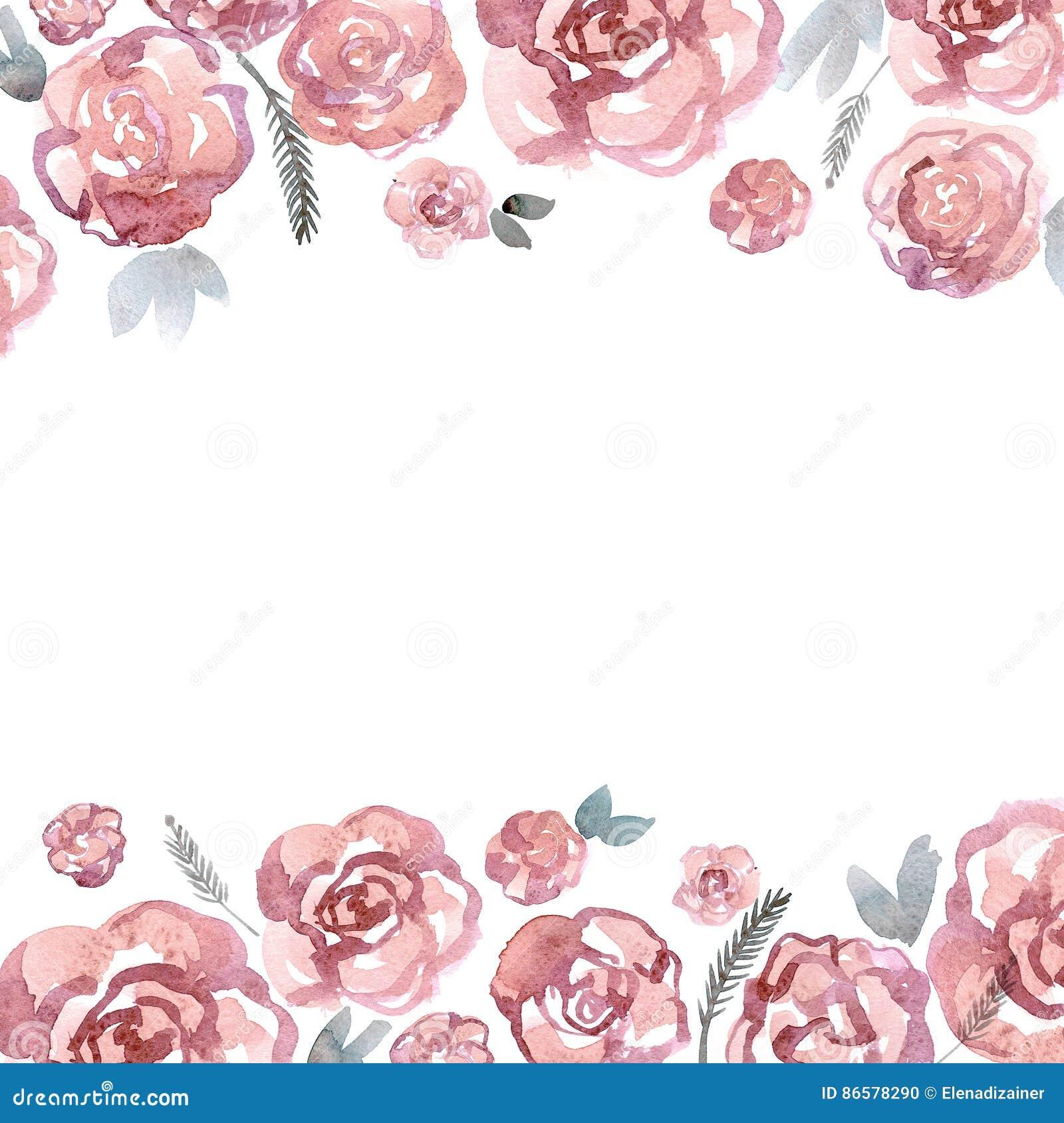 Nette Aquarellblumengrenze Mit Rosa Rosen Einladung