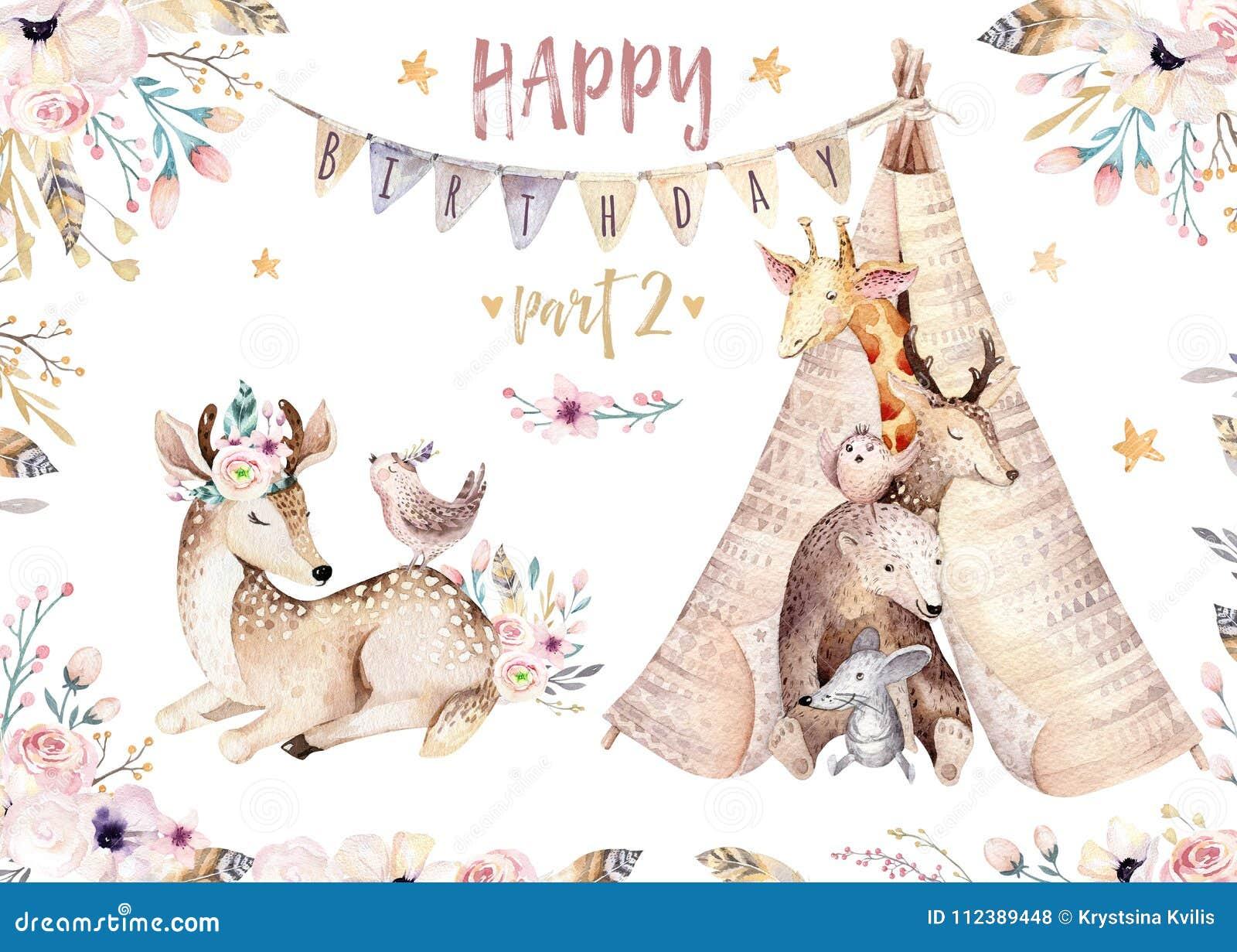 Nette Babygiraffe, Rotwildtierkindertagesstättenmaus und Bär lokalisierten Illustration für Kinder Aquarell boho Waldkarikatur