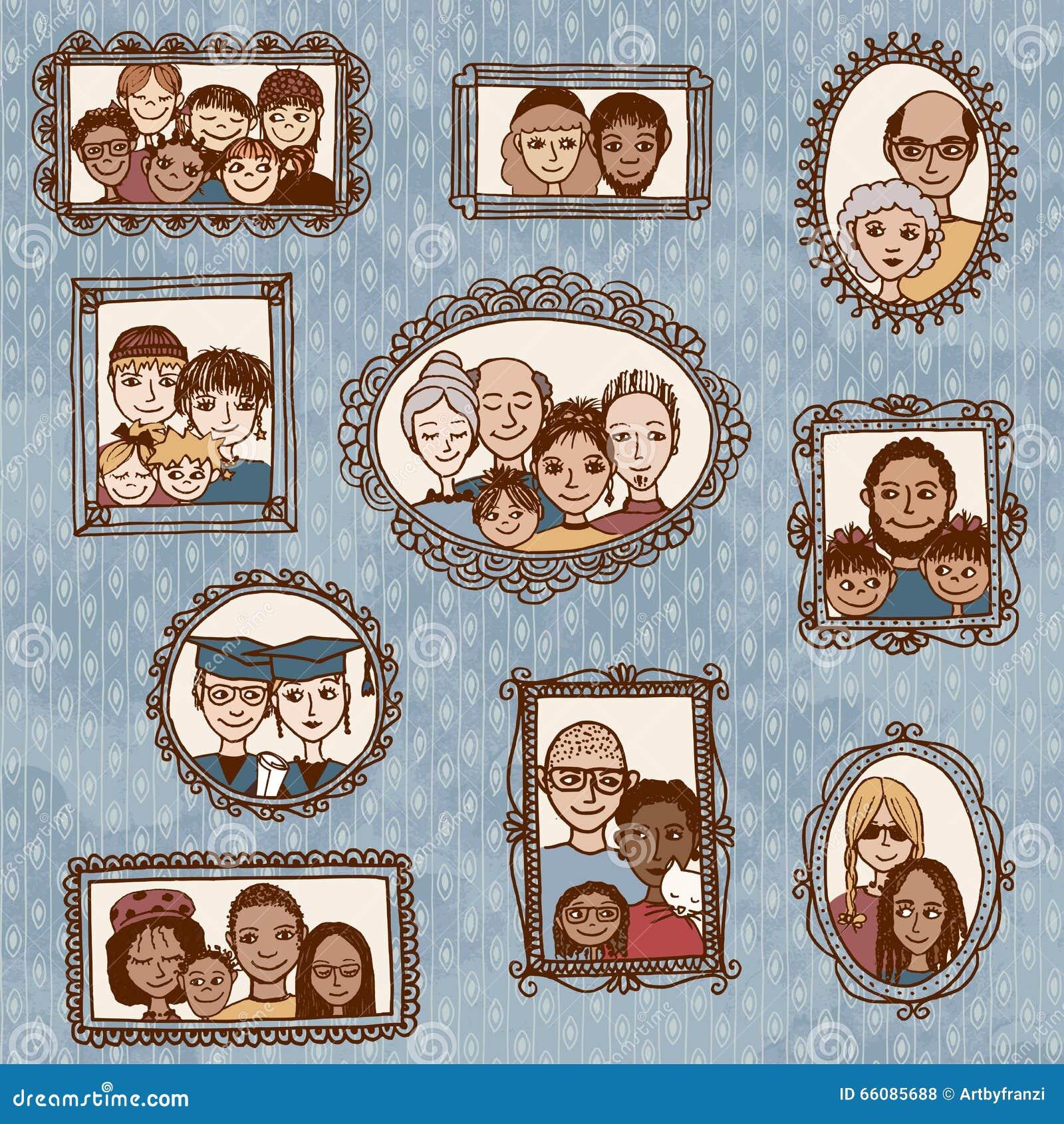 Nette Bilderrahmen Mit Familienporträts Vektor Abbildung ...