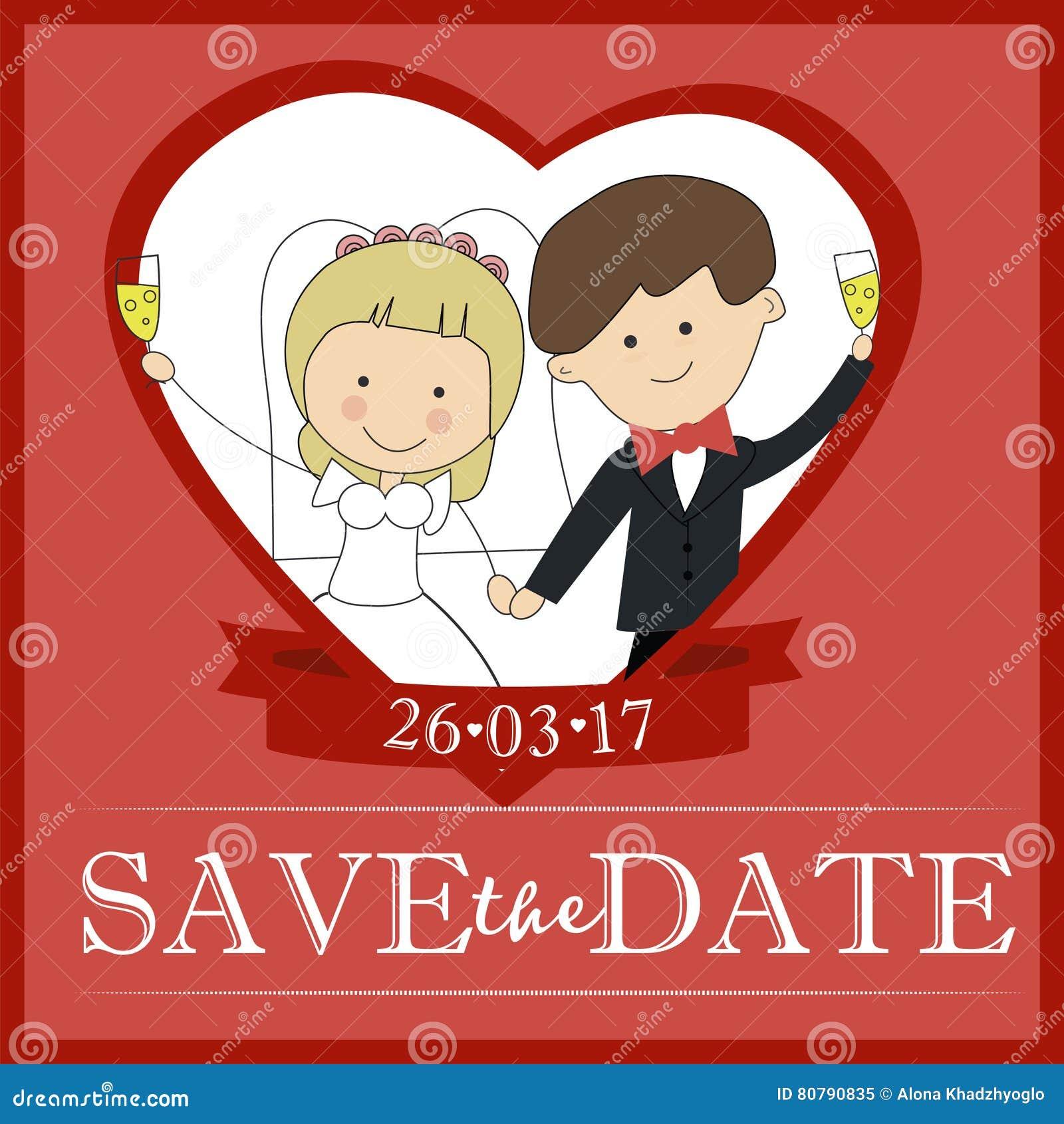 Nette Bräutigam- und Brautpaarhochzeitseinladungsdesign Schablonen-Vektorkarte sparen das Datum