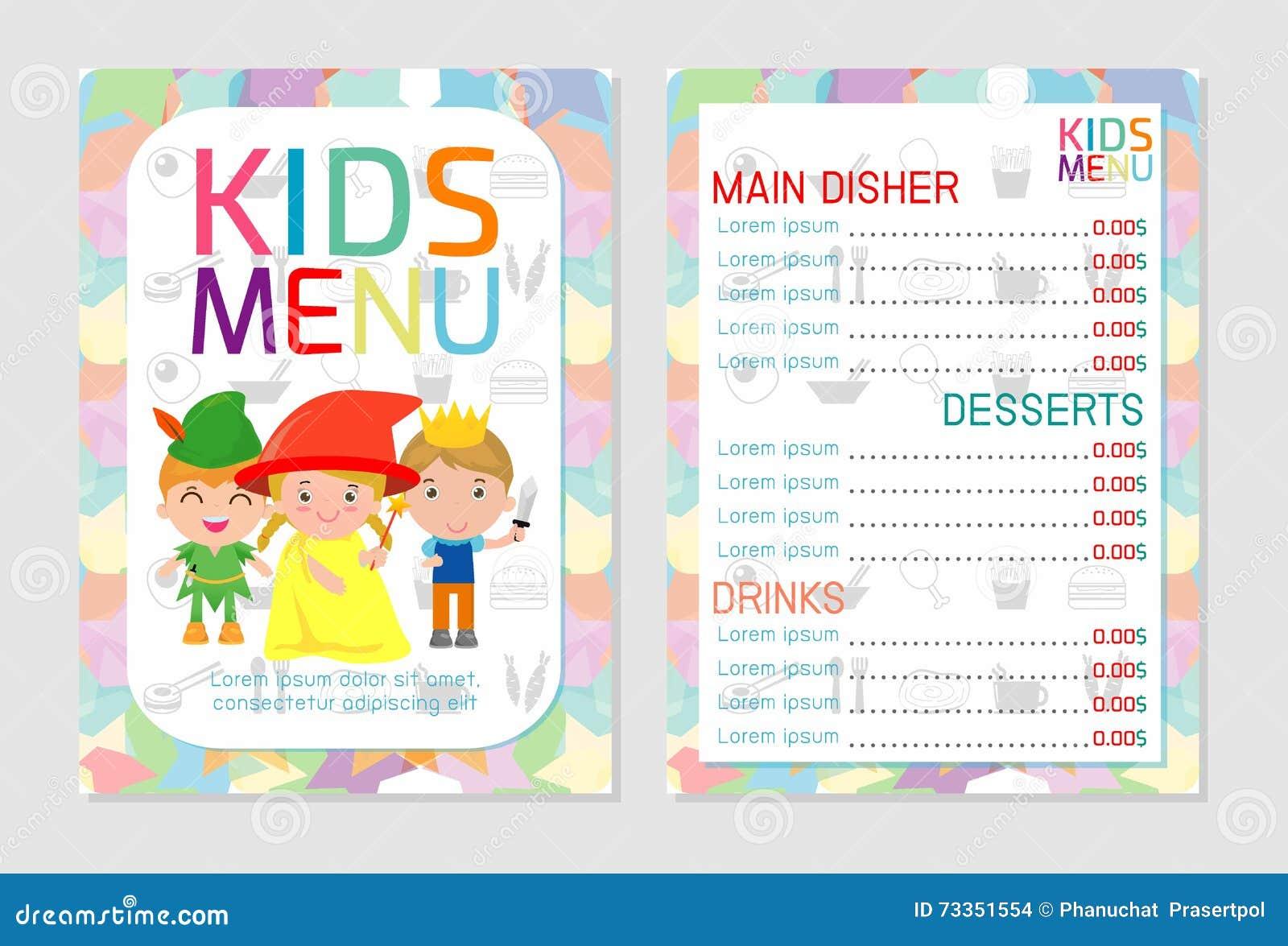 Nette Bunte Kindermahlzeitmenü-Vektorschablone, Kindermenü, Nettes ...