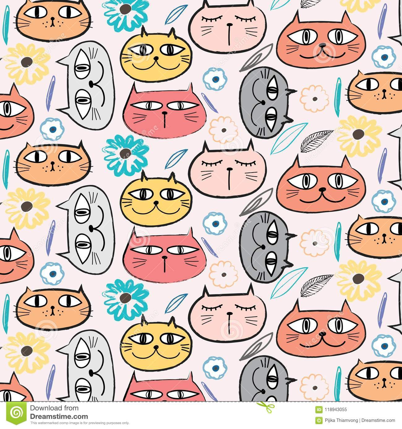 Nette Cat And Floral Pattern Background