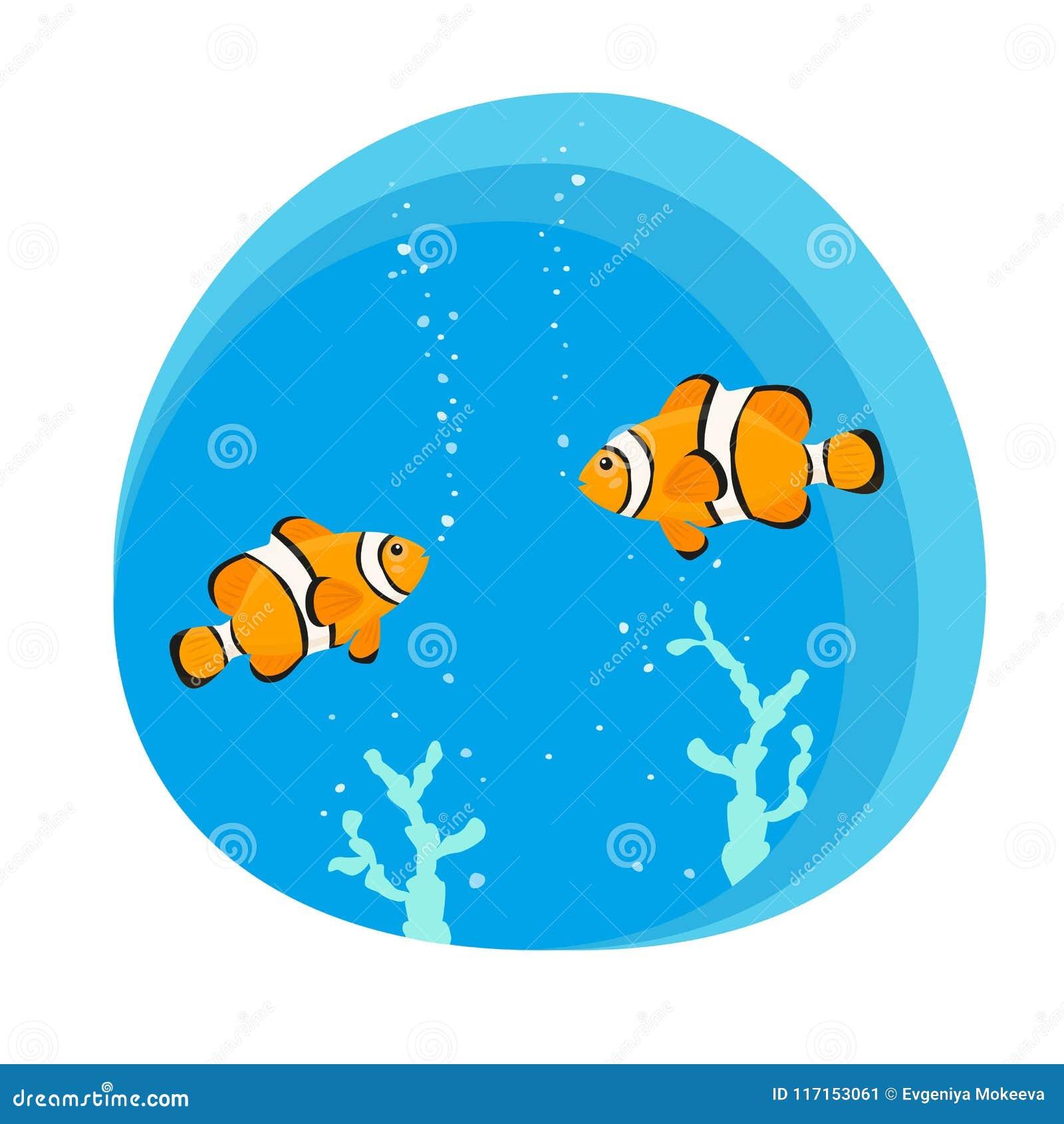 Nette Clownfische auf blauem Hintergrund
