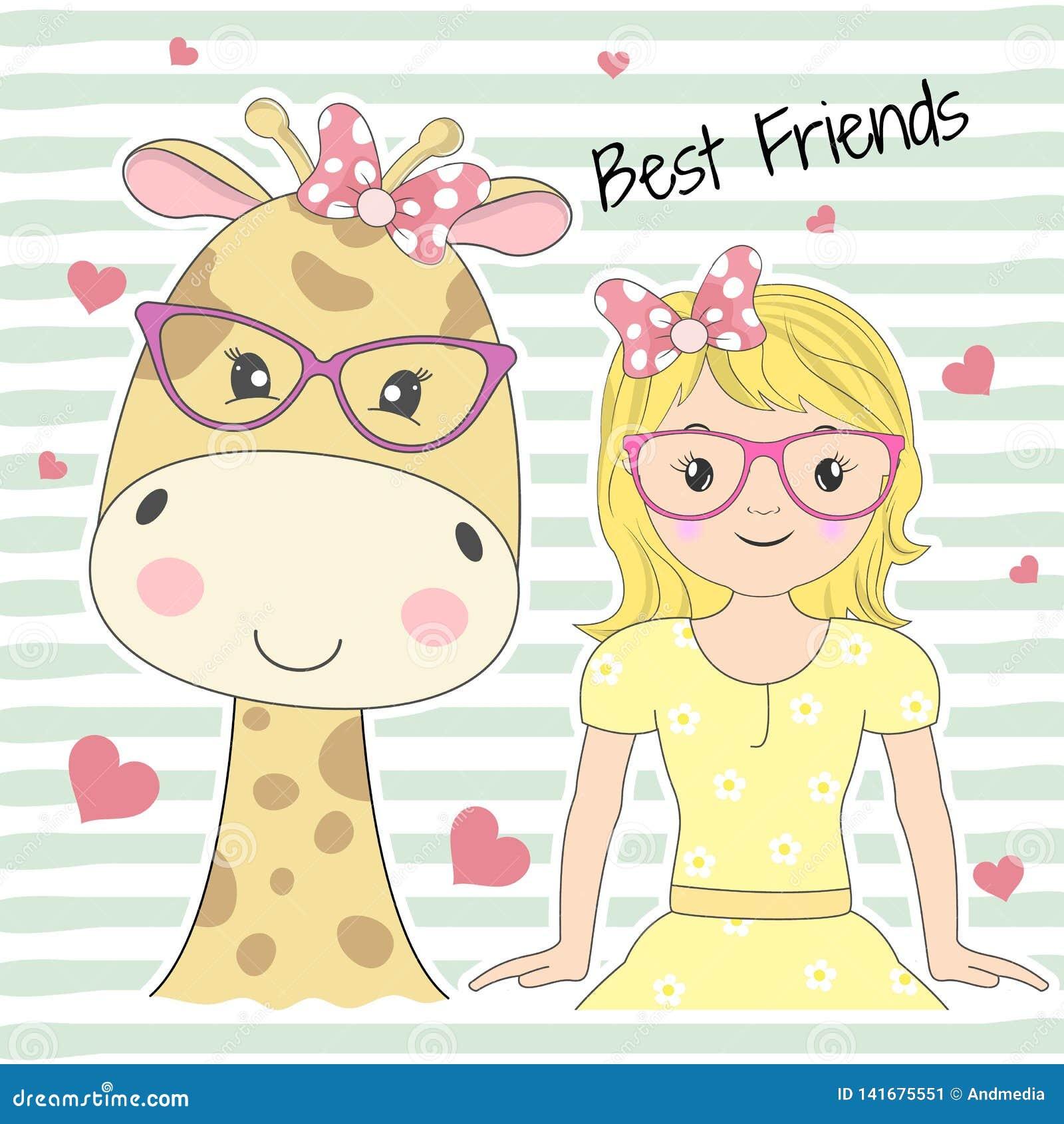 Nette entzückende Babygiraffe der Grußkarte und Prinzessin des kleinen Mädchens Beste Freunde