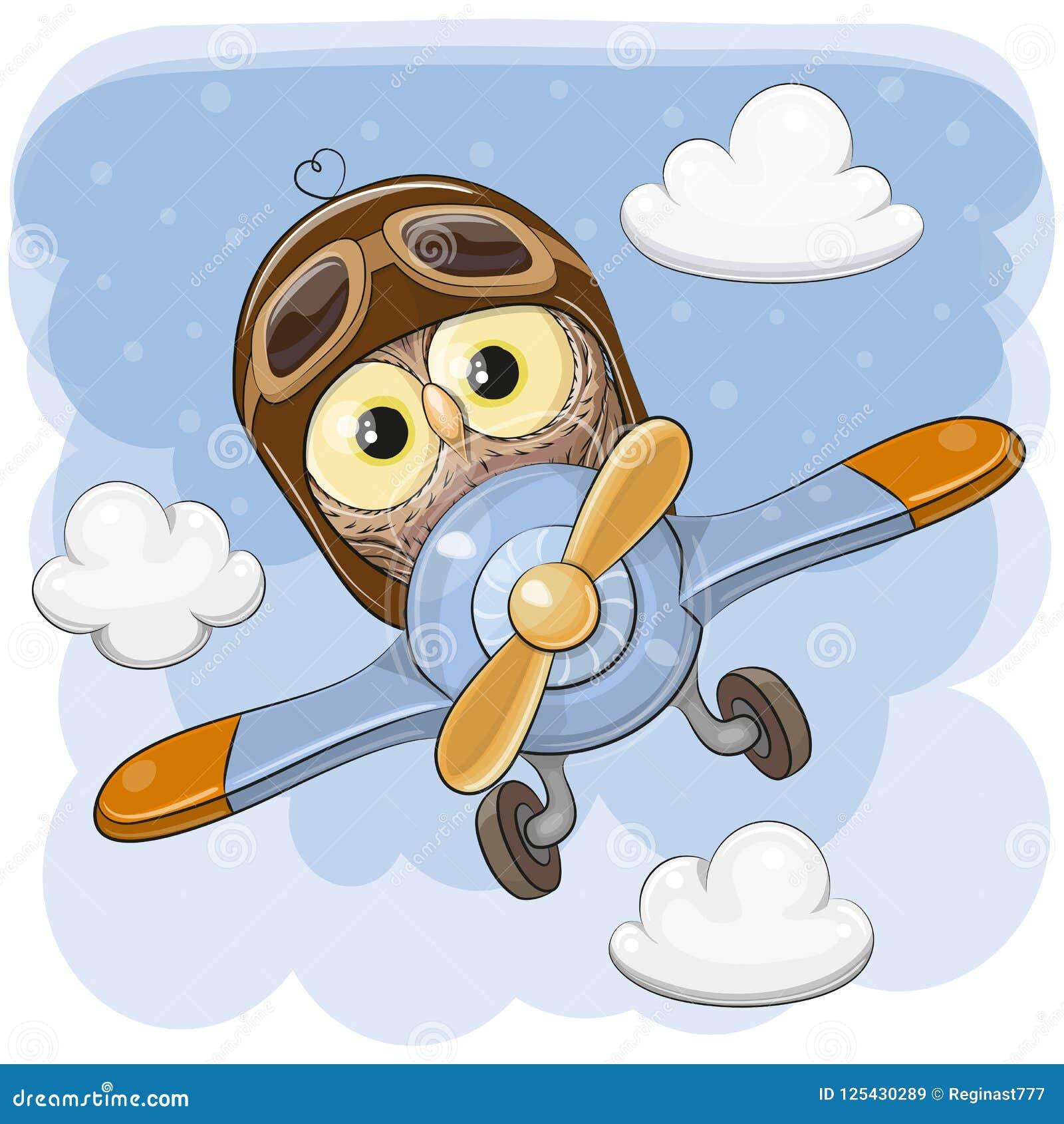 Nette Eule fliegt auf ein Flugzeug