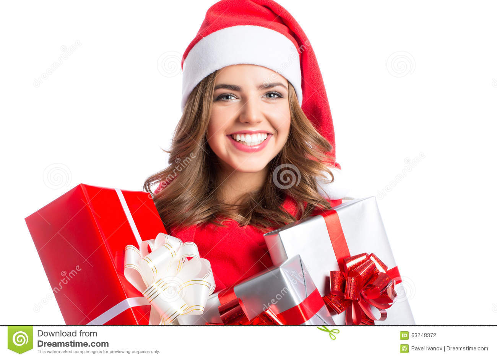 Nette Frau, Die Ein Weihnachten Und Neujahrsgeschenke Hält ...