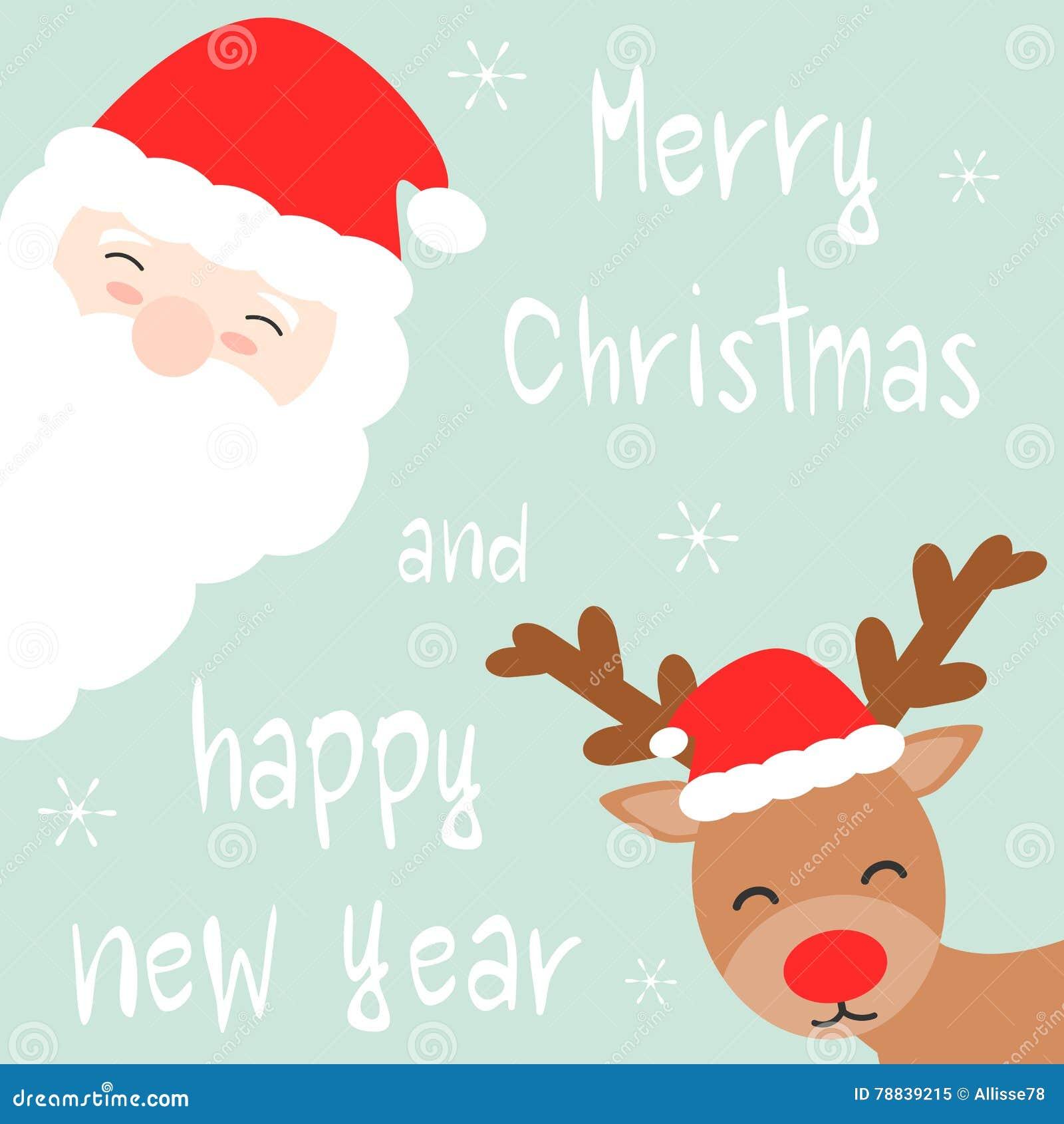 Nette Gezeichnete Frohe Weihnacht- Und Guten Rutsch Ins Neue Jahr ...