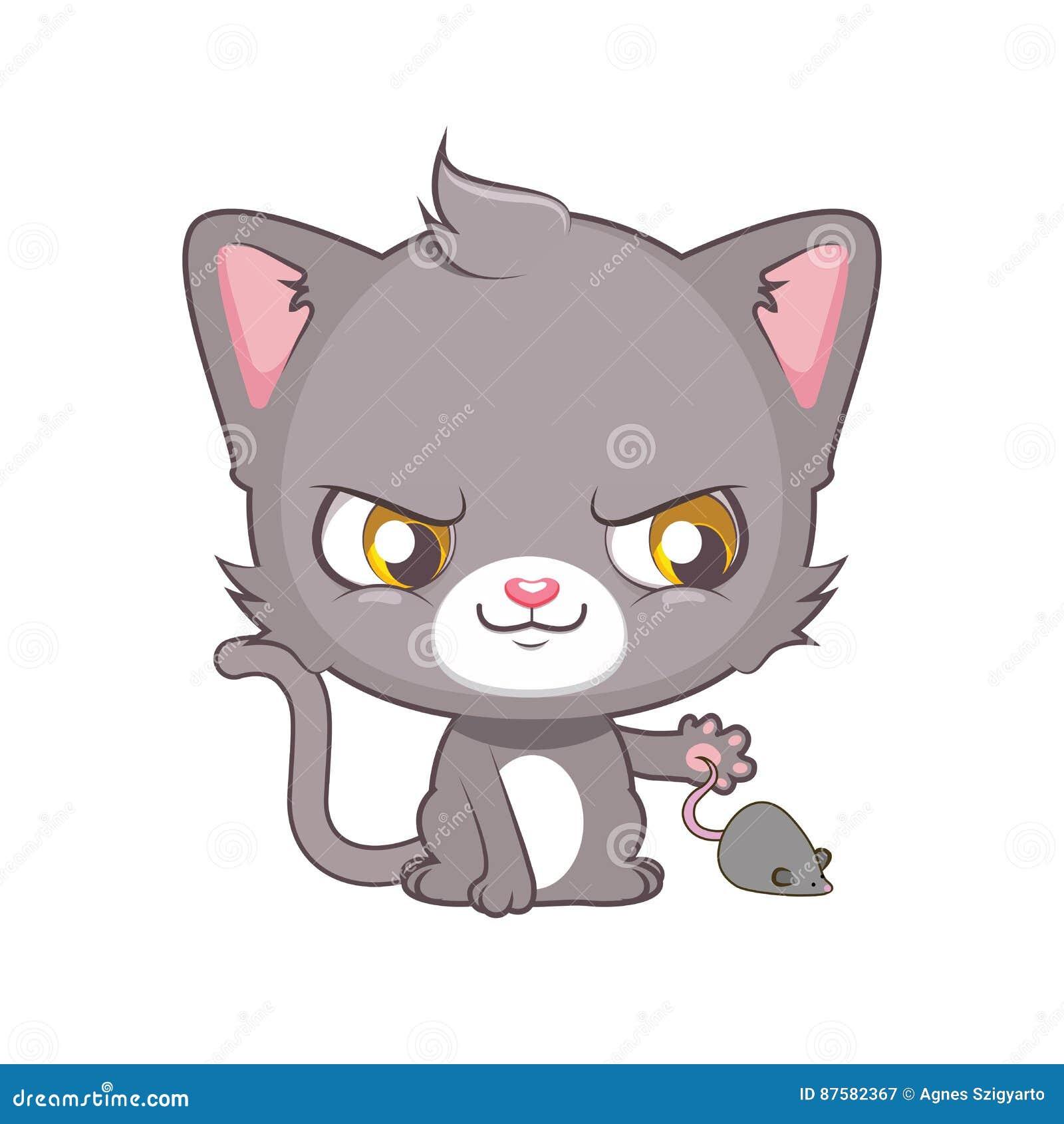 Nette Graue Katze Die Eine Maus Fangen Wunscht Vektor