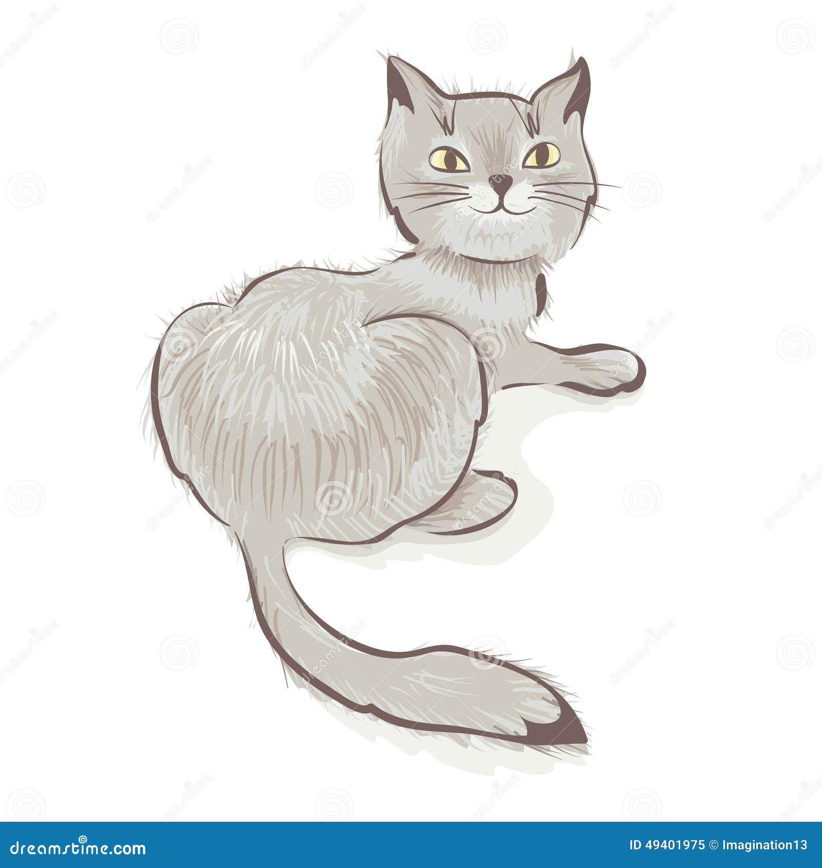 Download Nette Graue Lächelnde Katze Vektor Abbildung - Illustration von kitten, säugetier: 49401975