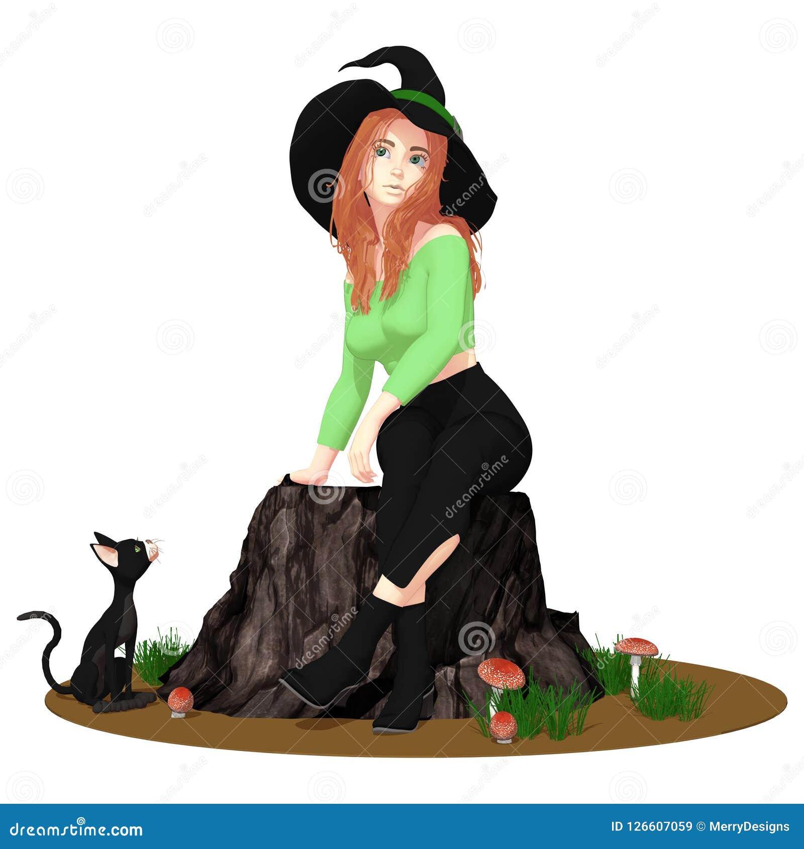 Nette Halloween-Hexe mit ihrer schwarzen Katze lokalisiert