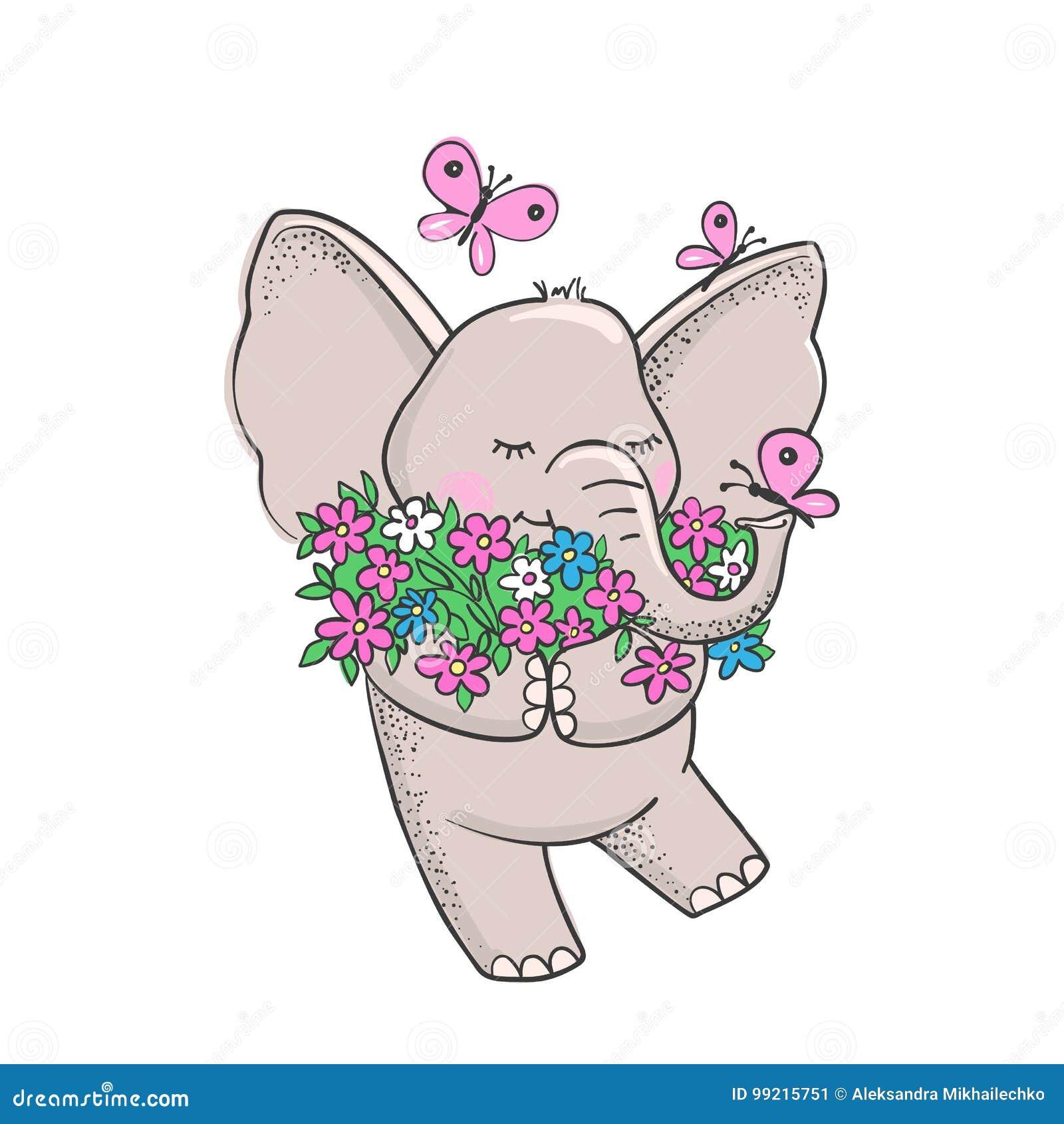 Nette Hand Gezeichneter Elefant Mit Blumen Vektor Abbildung ...
