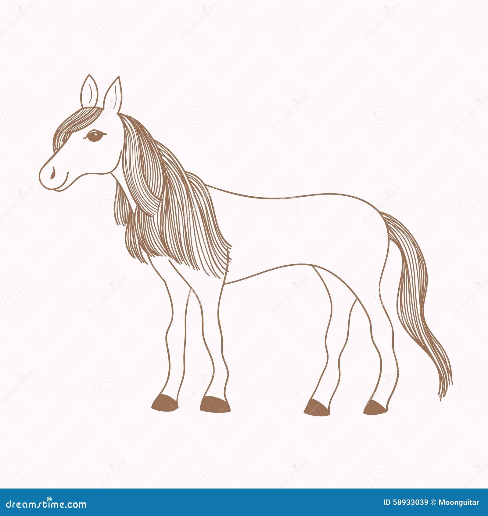 Nette Hand Gezeichnetes Pferd Zeichnen Der Stute Vektor Abbildung