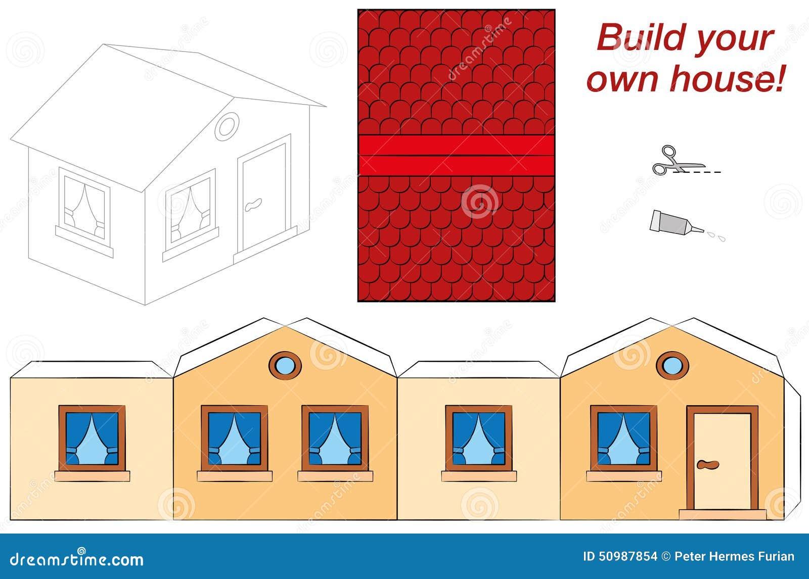Nette Haus-Schablone vektor abbildung. Illustration von dach - 50987854