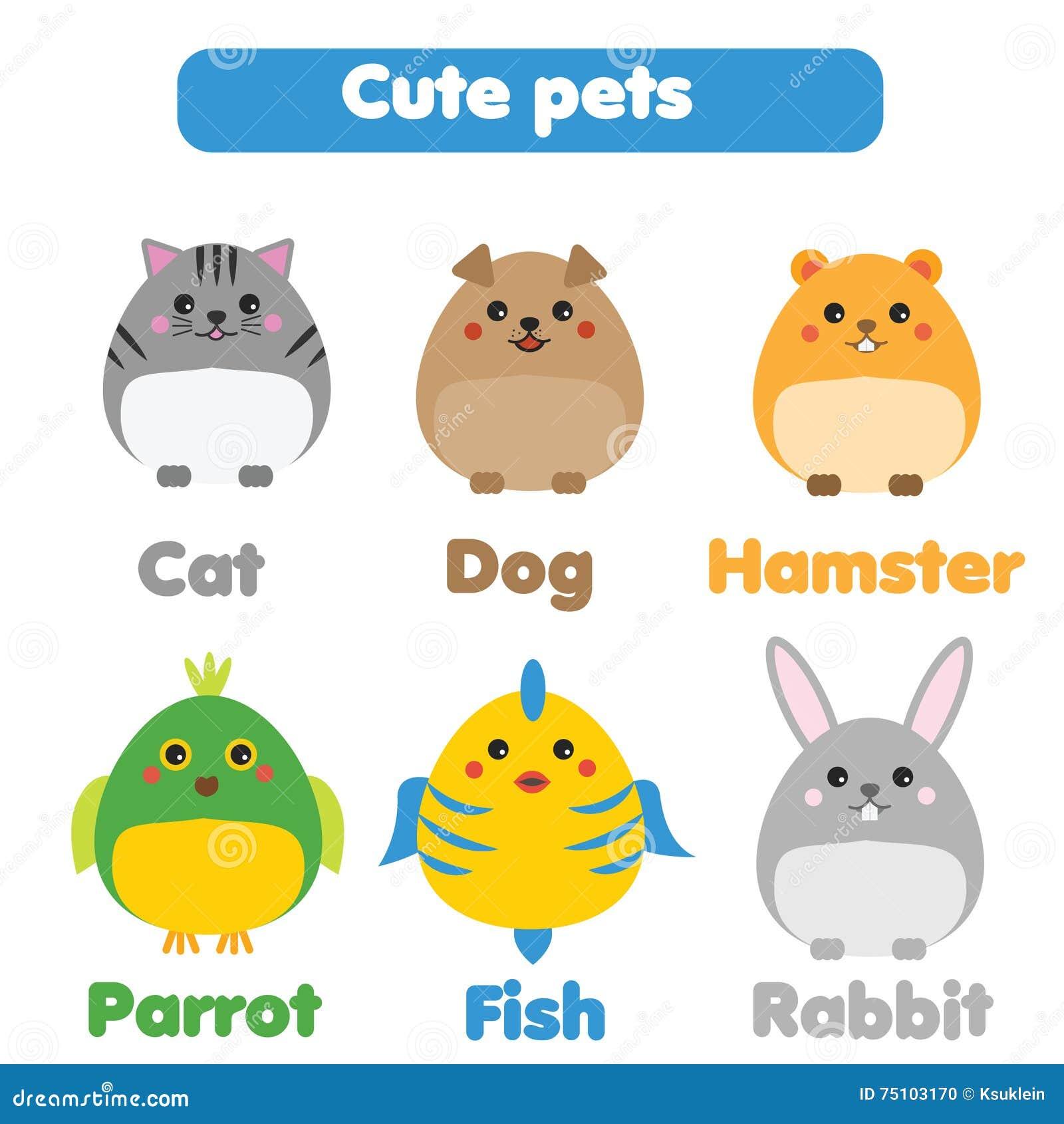 Nette Haustiere Eingestellt Kinder Reden, Lokalisierte ...