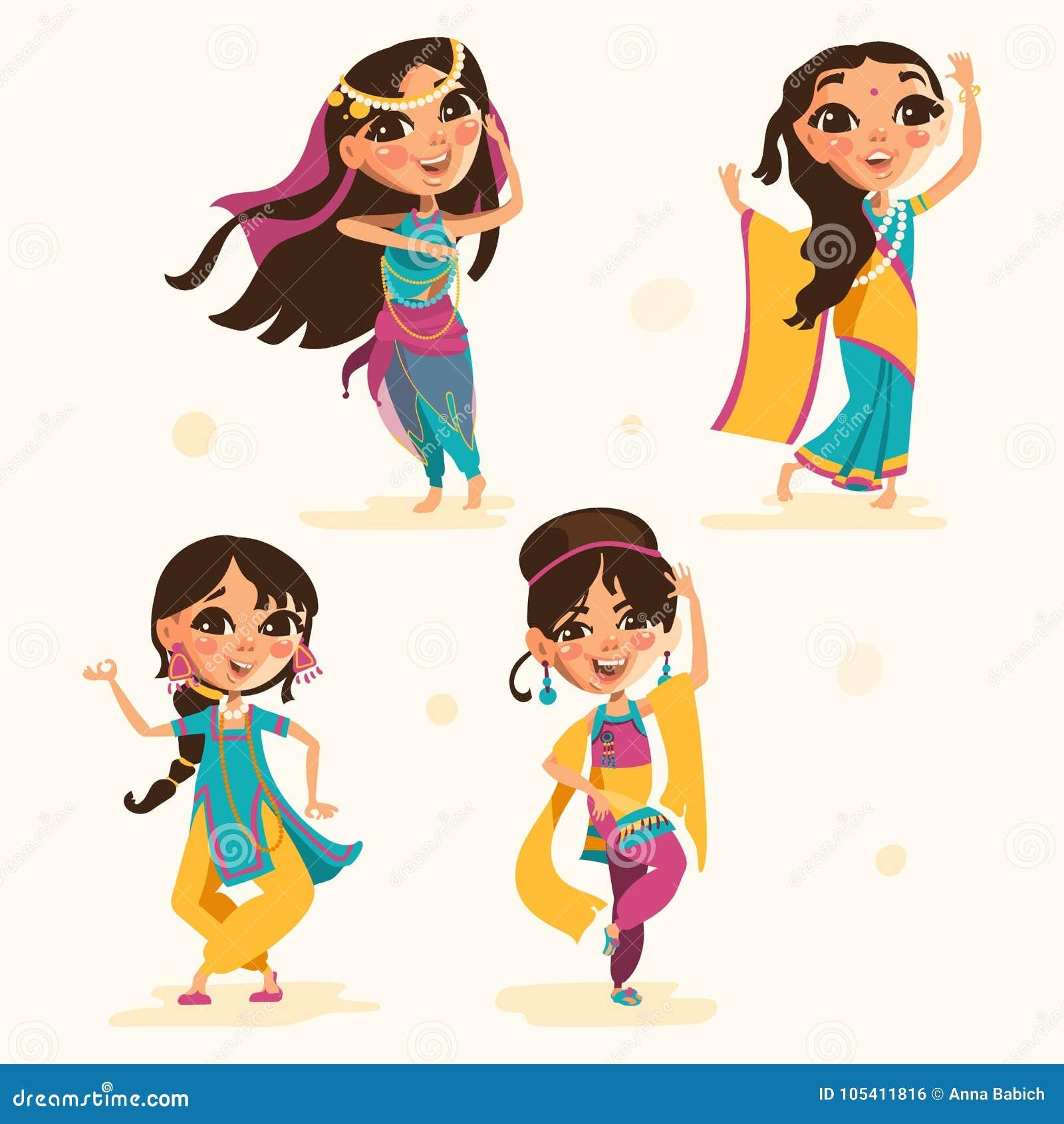 Nette Indische Kinder Madchen In Der Traditionellen Indischen Kleidung Stellten Sammlung Ein Vektor Abbildung Illustration Von Indien Kleid 105411816