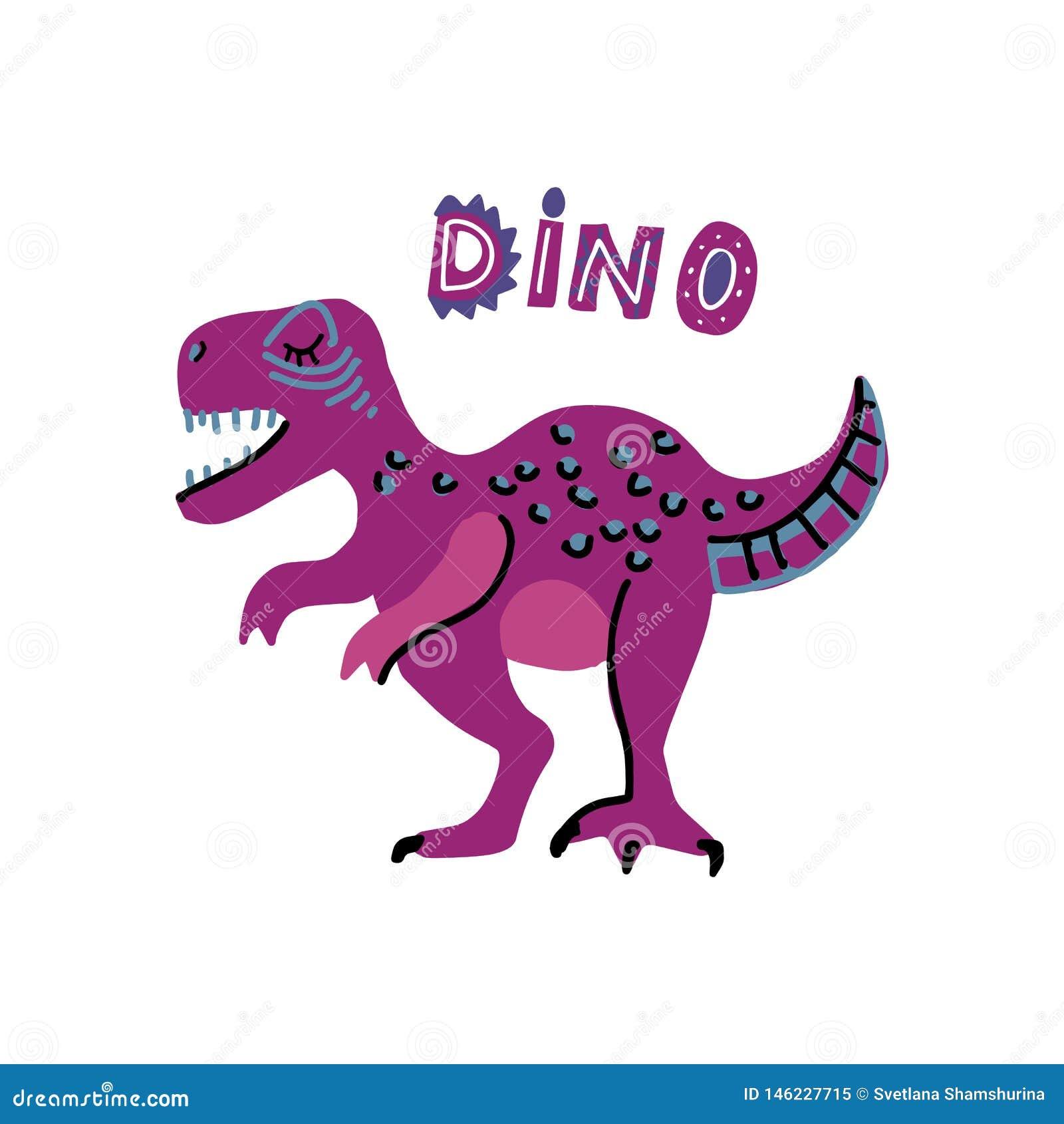 Nette Karikatur-Handgezogener Dinosaurier des Vektors mit Wörtern Dino tyrannosaurus Vektorillustration skandinavischen t-rex Cha