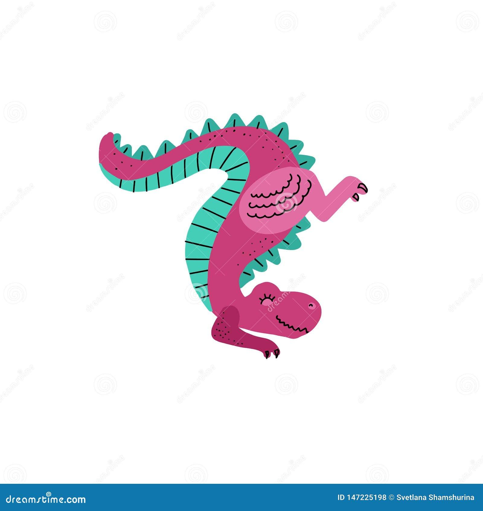 Nette Karikaturhandbinden gezogene Dinosaurierstellung des Vektors auf den Vorderpfoten oben an tyrannosaurus Vektorillustration