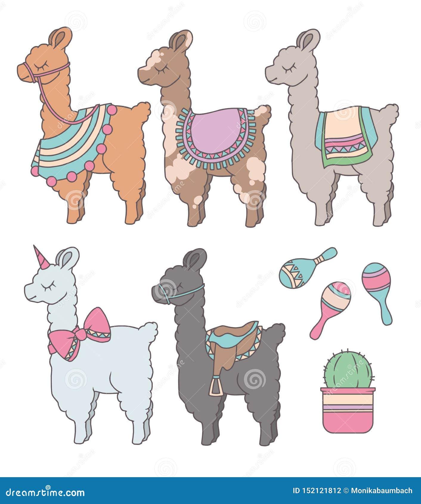Nette Karikaturlamas oder -alpakas mit grafischem Illustrationssatz des Kaktus und des peruanischen Rumbaschüttels-apparat