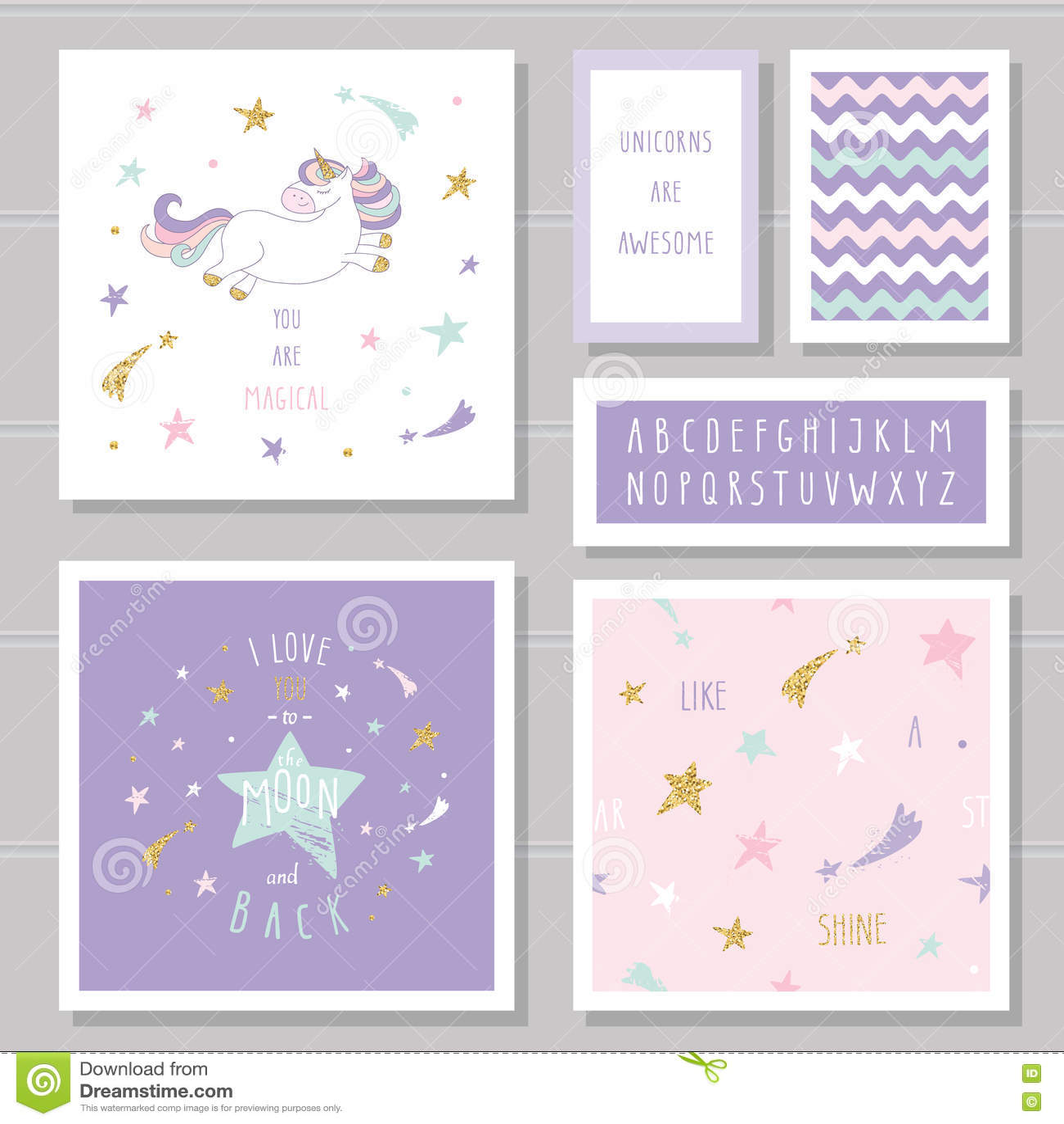 Nette Karten mit Einhorn- und Goldfunkelnsternen Für Geburtstagseinladung Babyparty, Valentinsgruß ` s Tag