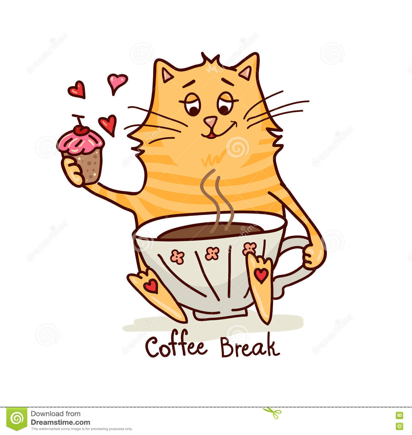 Nette Katze Mit Kaffee 2 Vektor Abbildung Illustration Von
