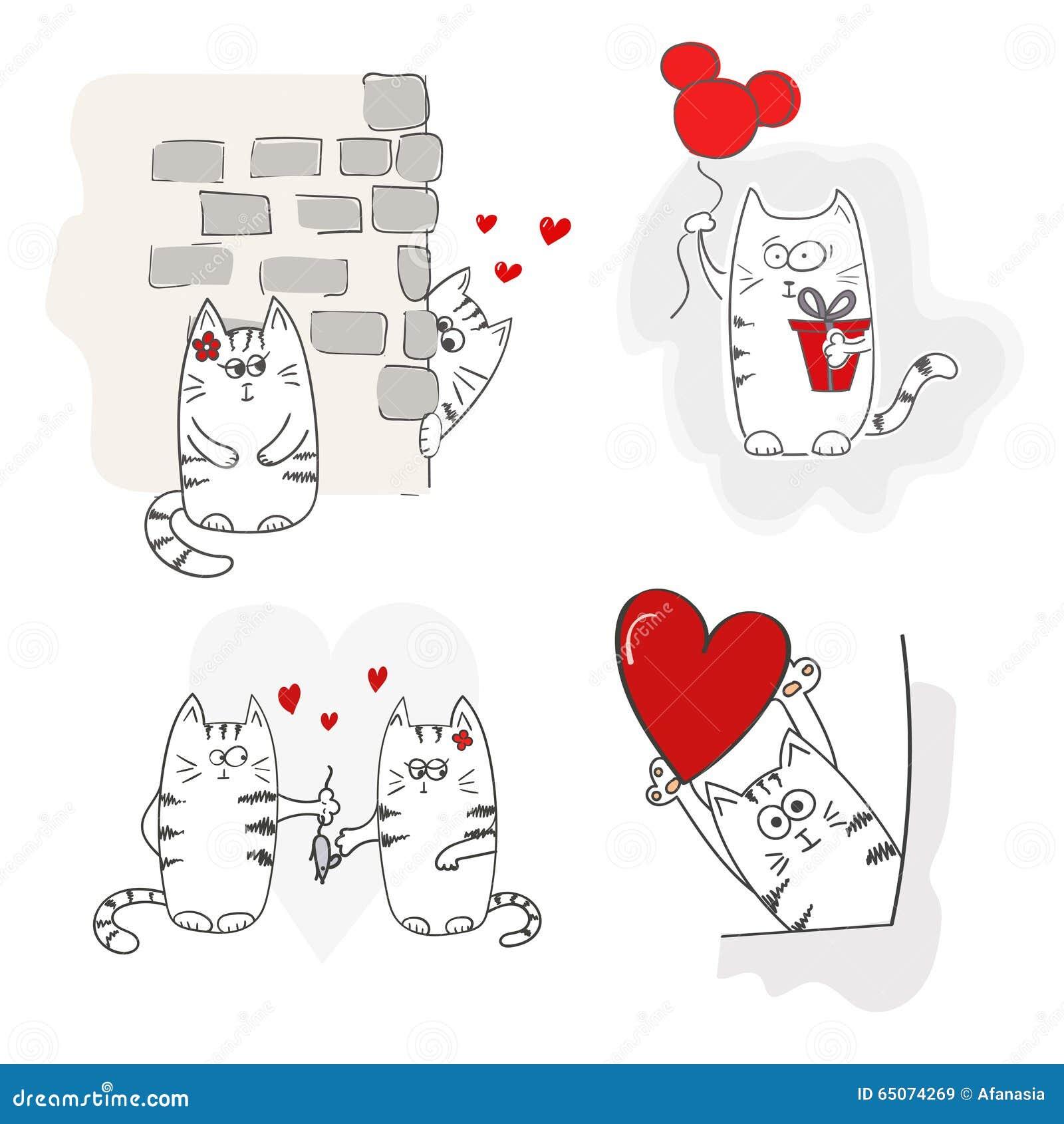 Nette Katzen In Der Liebe Set Valentinsgrüße