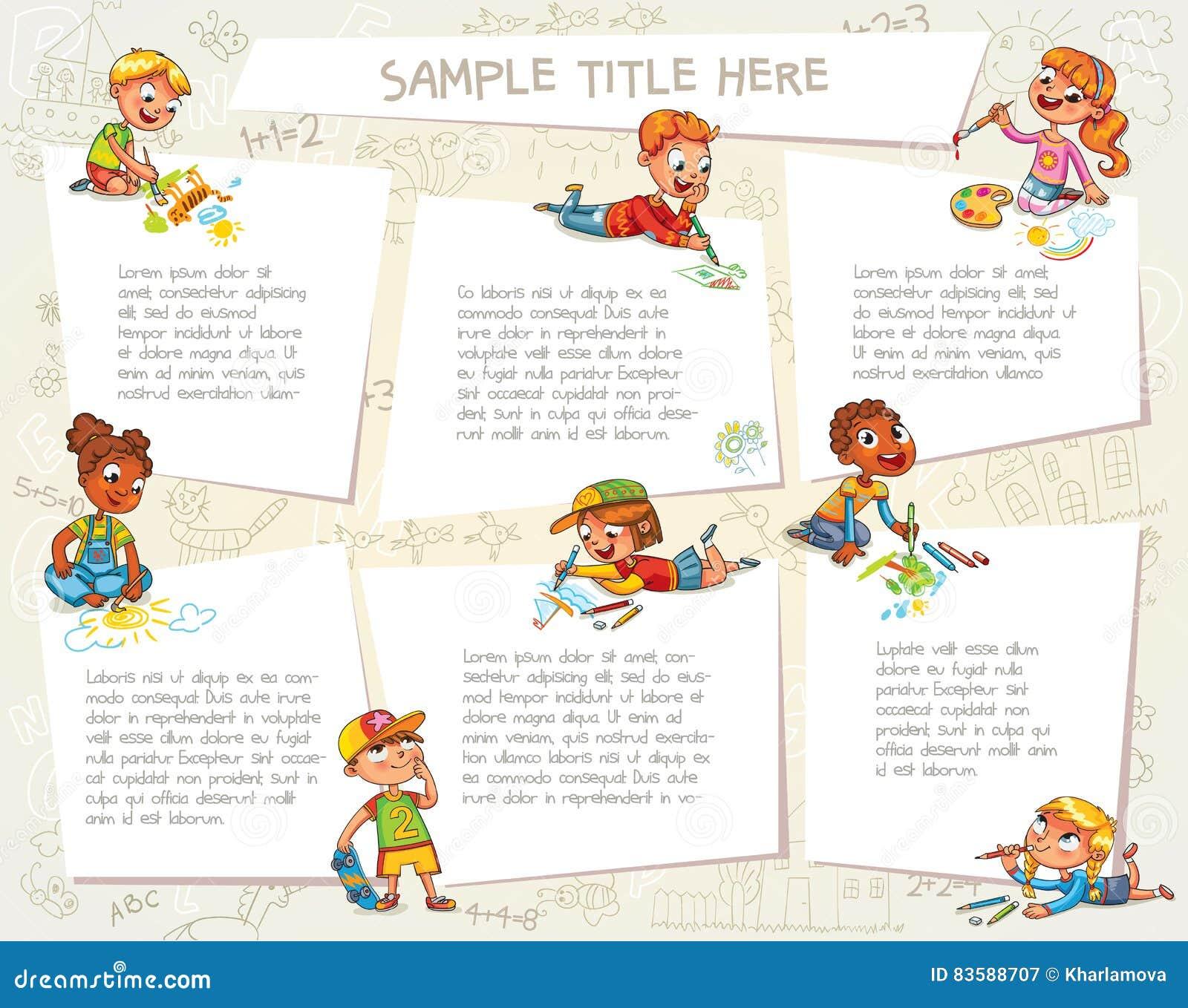 Nette Kinder Die Zusammen Bilder Zeichnen Redaktionelles